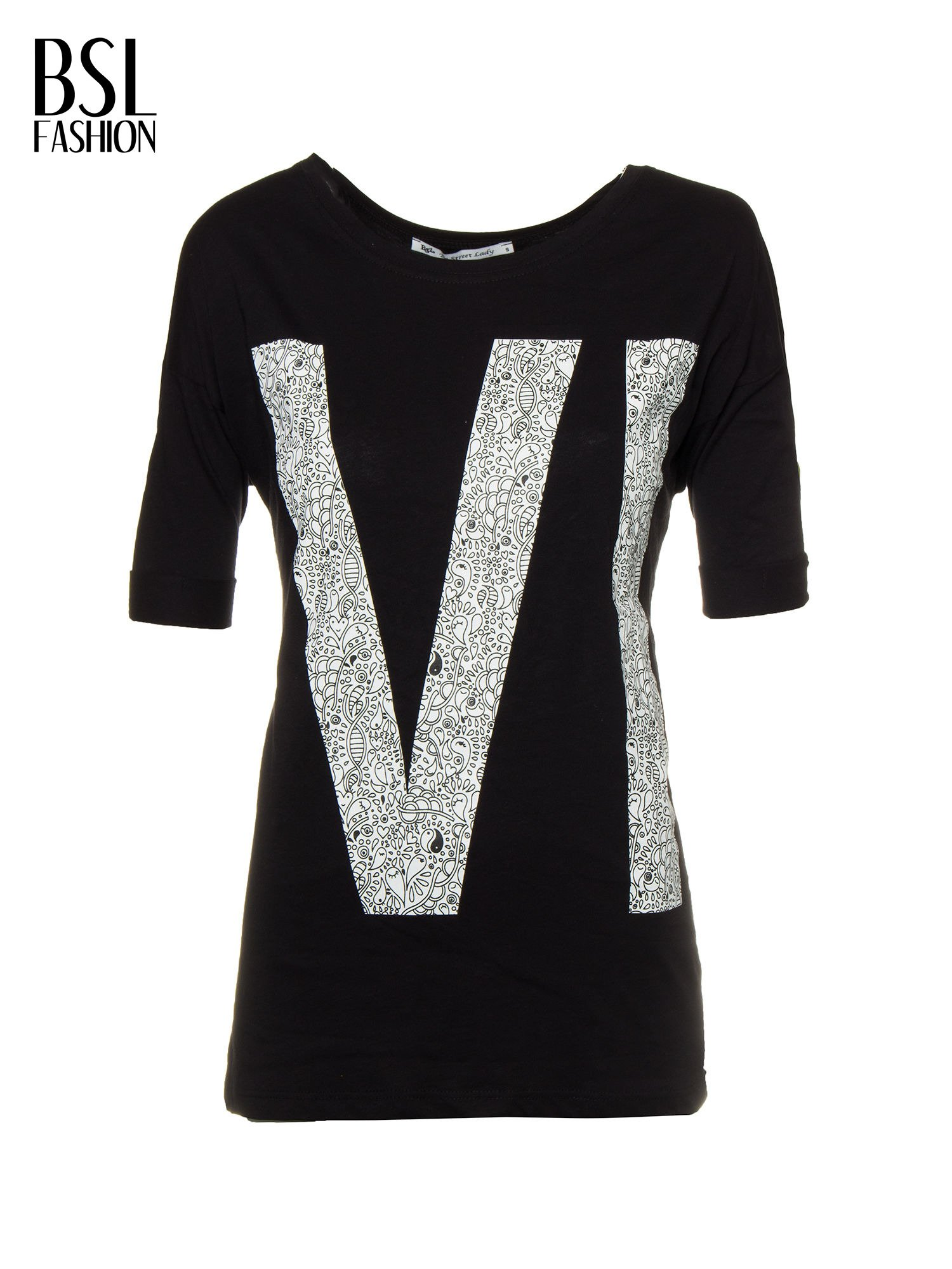 Czarny t-shirt z nadukiem WIBE z przodu i na plecach                                  zdj.                                  2