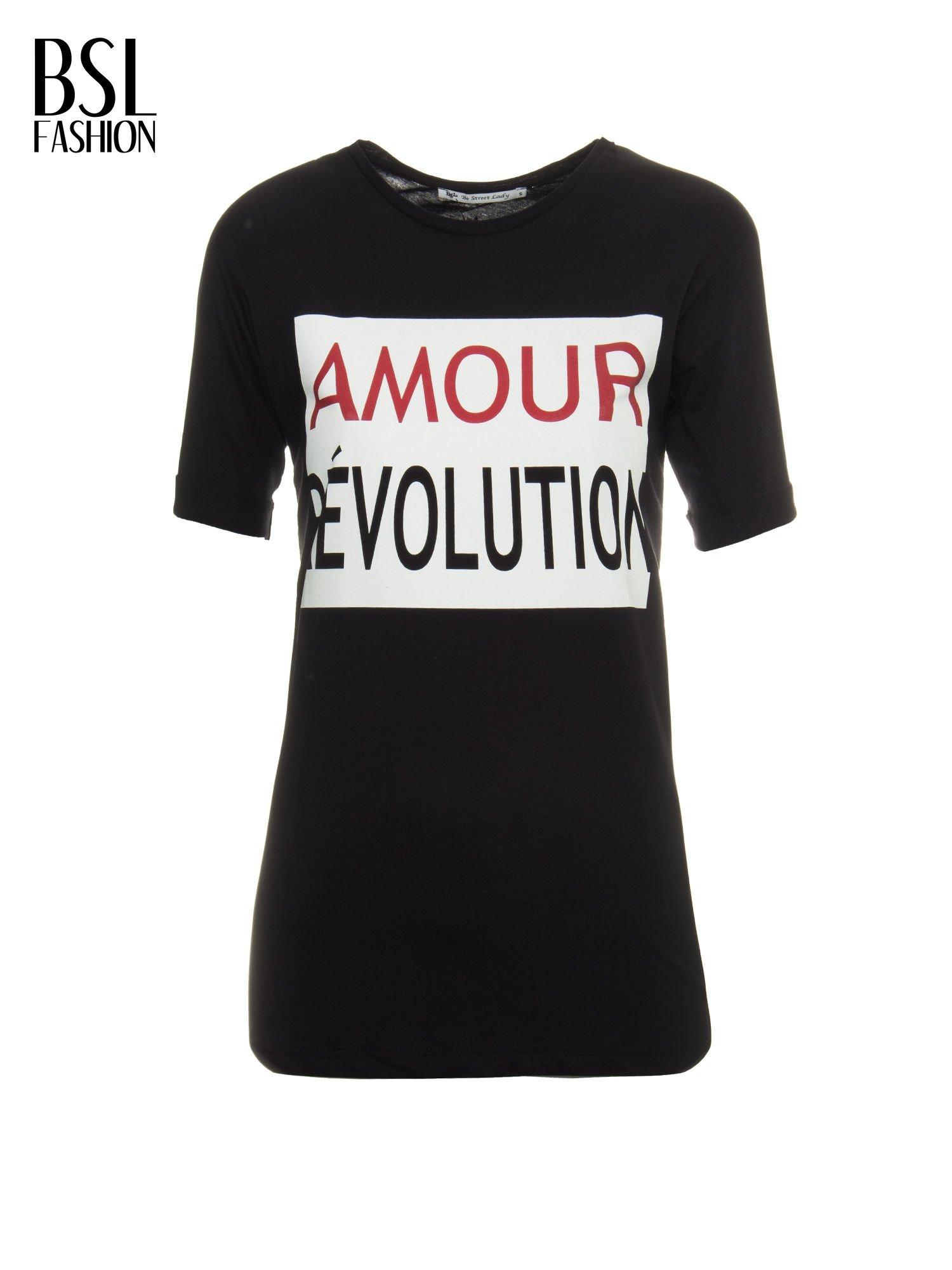 Czarny t-shirt z napisem AMOUR RÉVOLUTION                                  zdj.                                  2