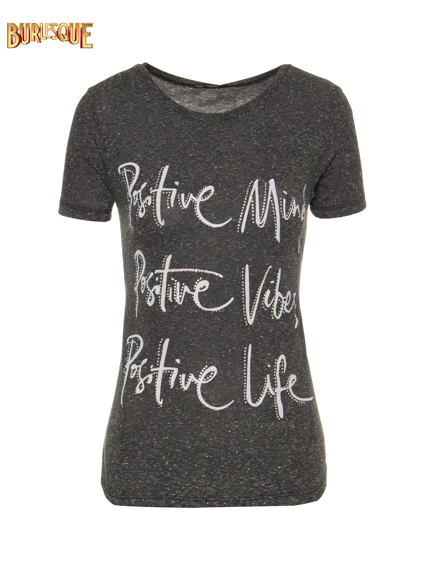 Czarny t-shirt z napisem POSITIVE MIND z dżetami                                  zdj.                                  6