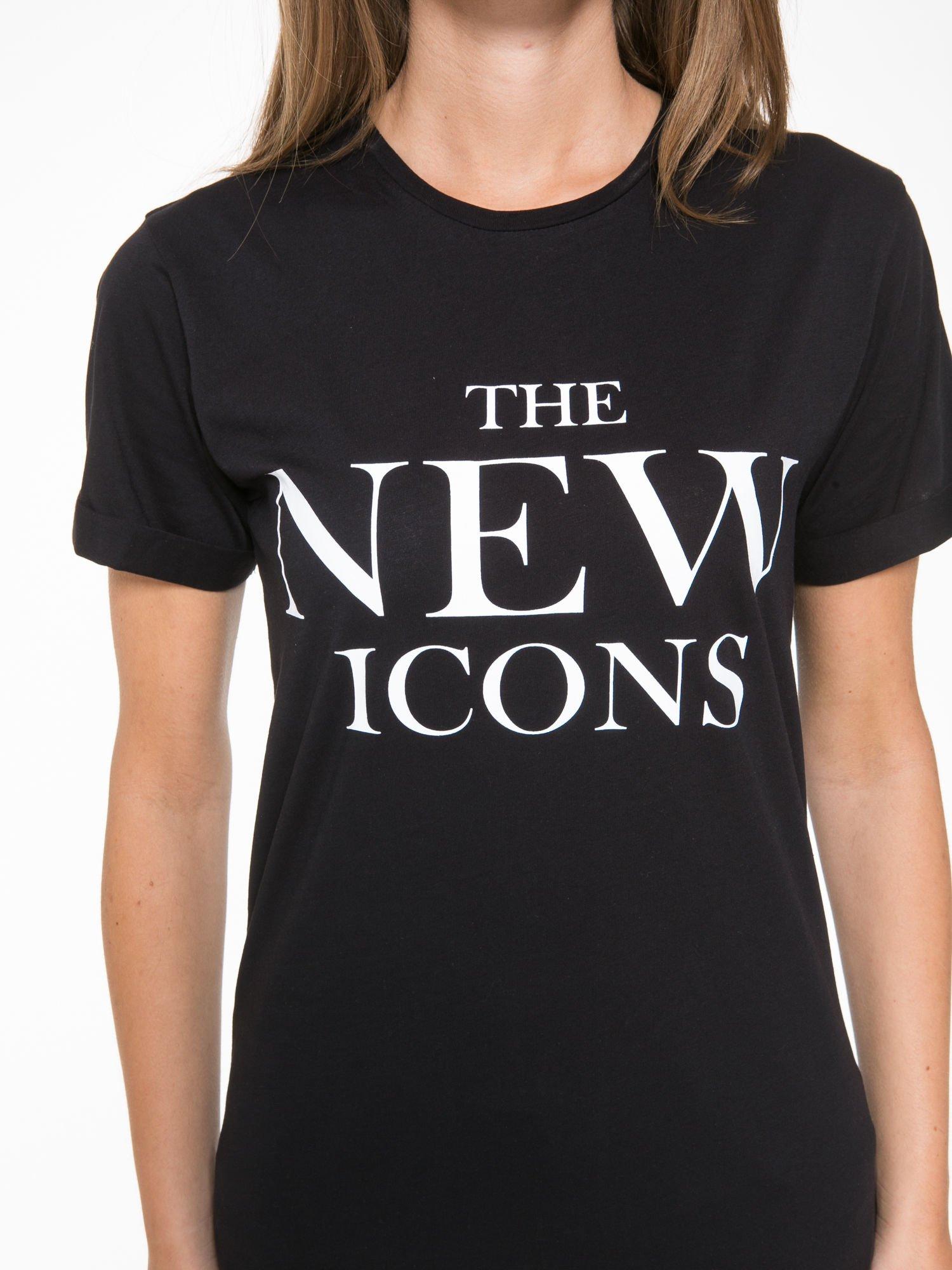 Czarny t-shirt z napisem THE NEW ICONS                                  zdj.                                  7