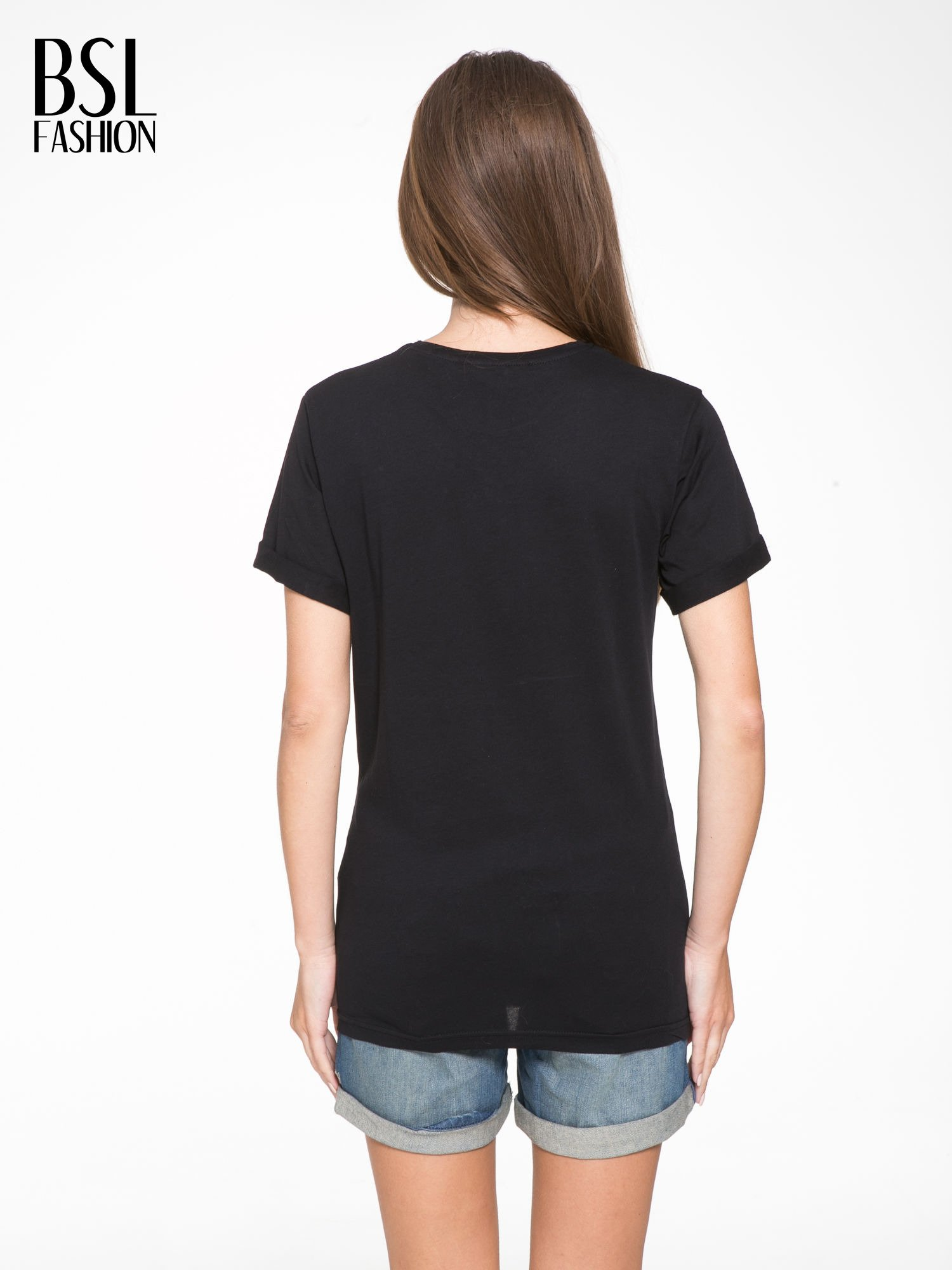 Czarny t-shirt z napisem THE NEW ICONS                                  zdj.                                  4