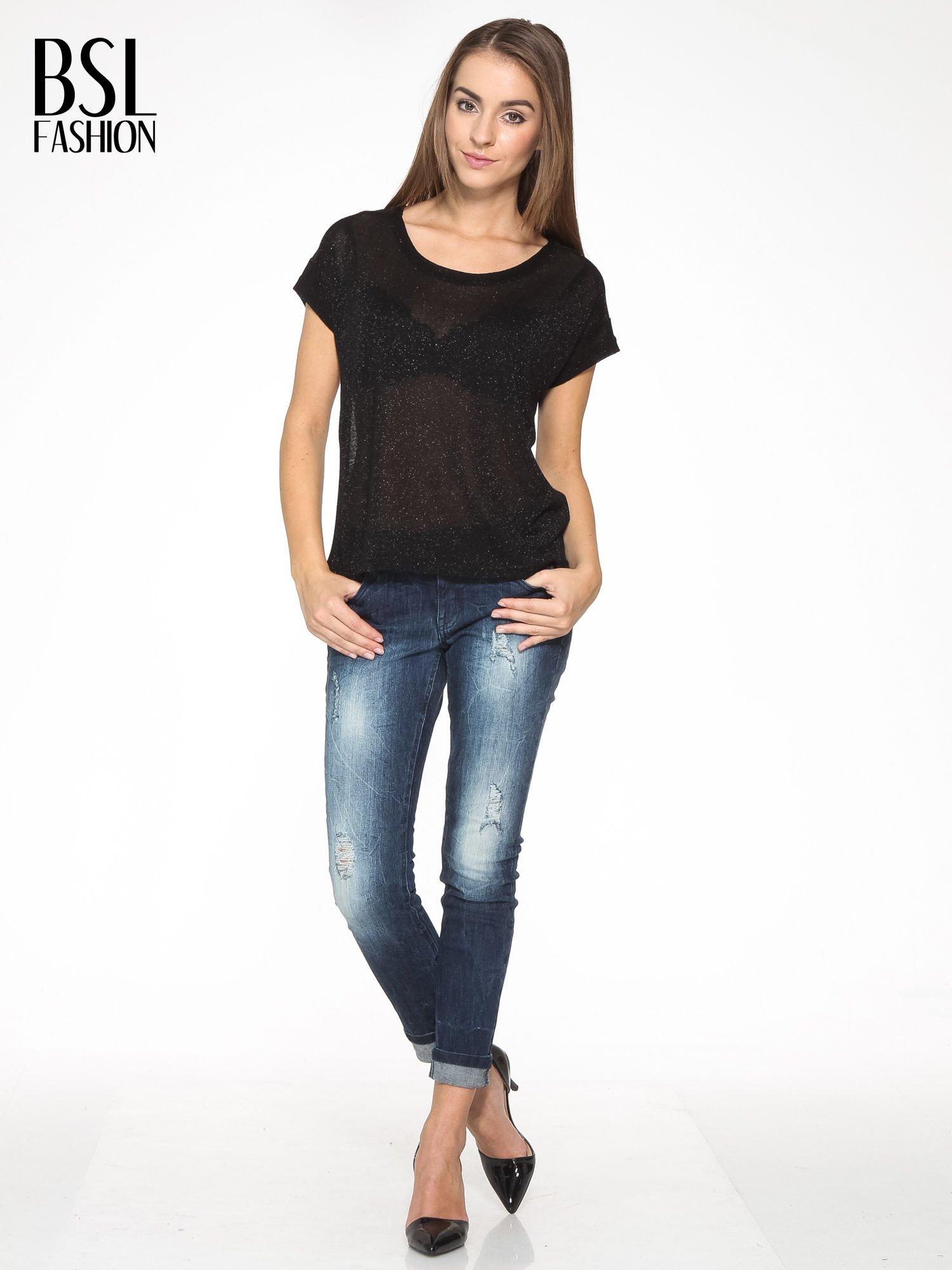 Czarny transparentny t-shirt przeplatany srebrną nicią                                  zdj.                                  5