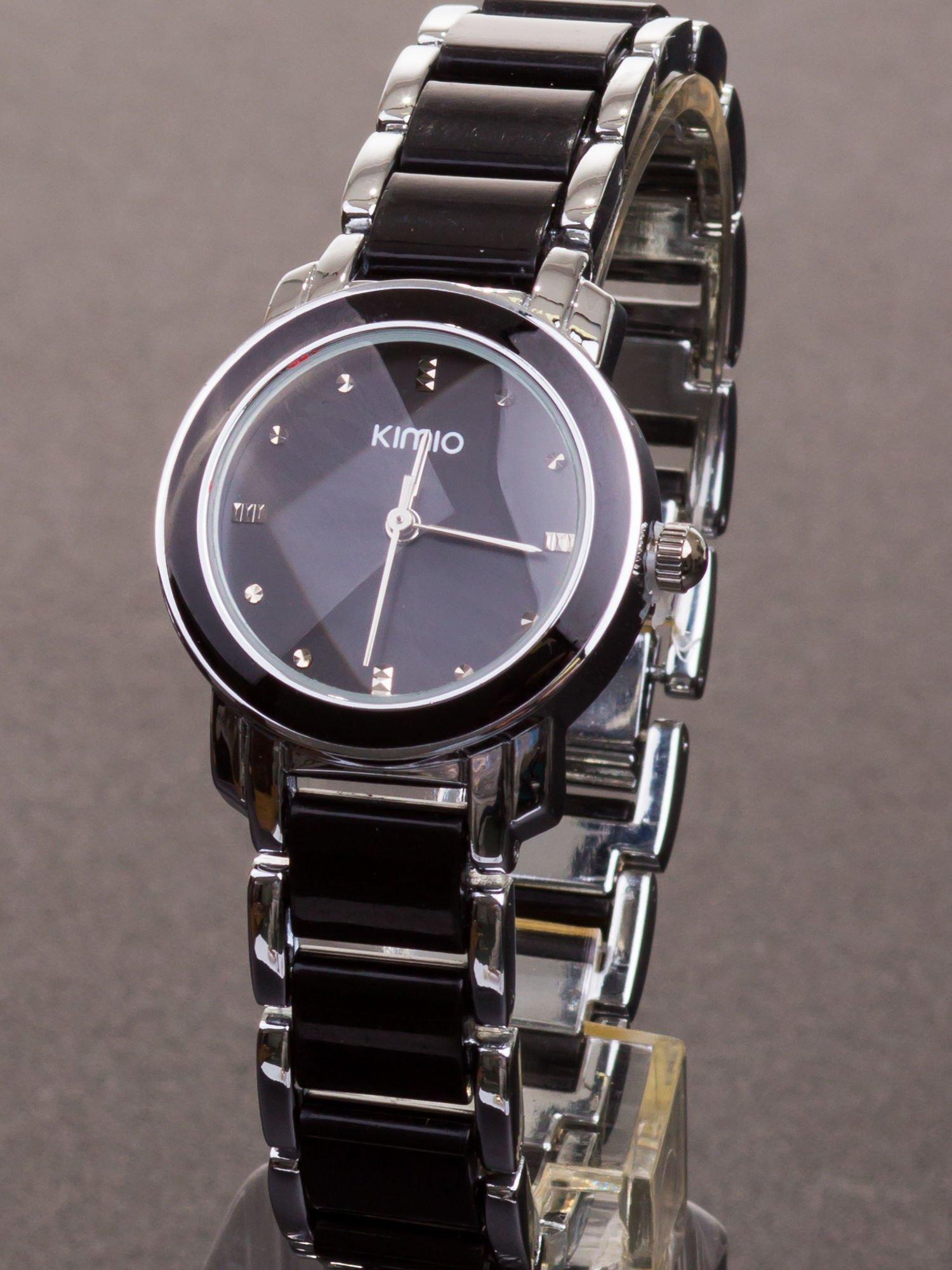 13b5604b437db8 Czarny zegarek damski z cyrkoniami na bransolecie - Akcesoria ...