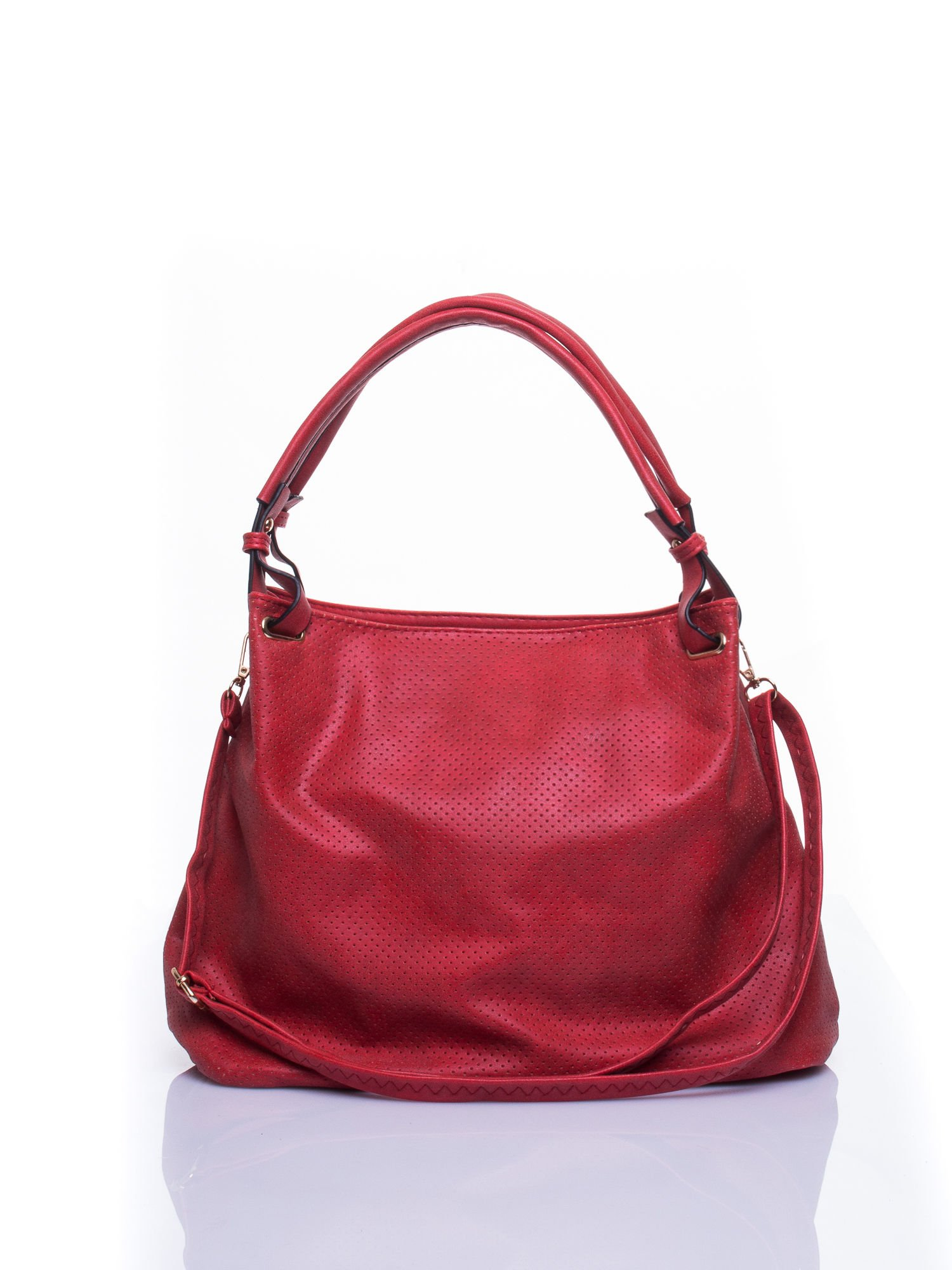 Czerwona ażurowa torba na ramię                                  zdj.                                  1