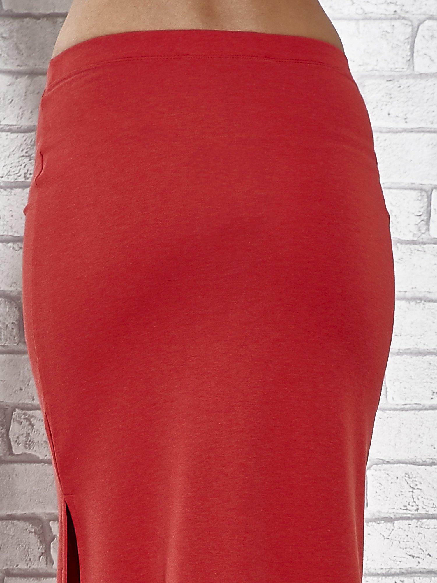 Czerwona długa spódnica maxi z rozporkiem                                  zdj.                                  8
