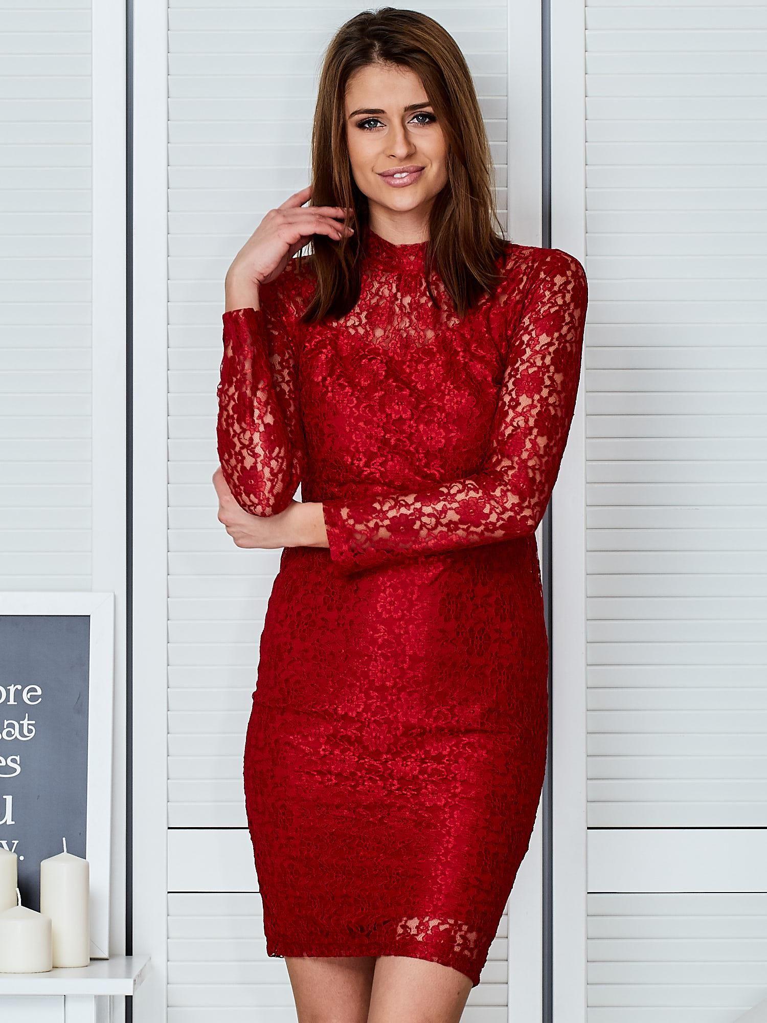 de485f9c99 Czerwona elegancka koronkowa sukienka - Sukienka koktajlowa - sklep ...