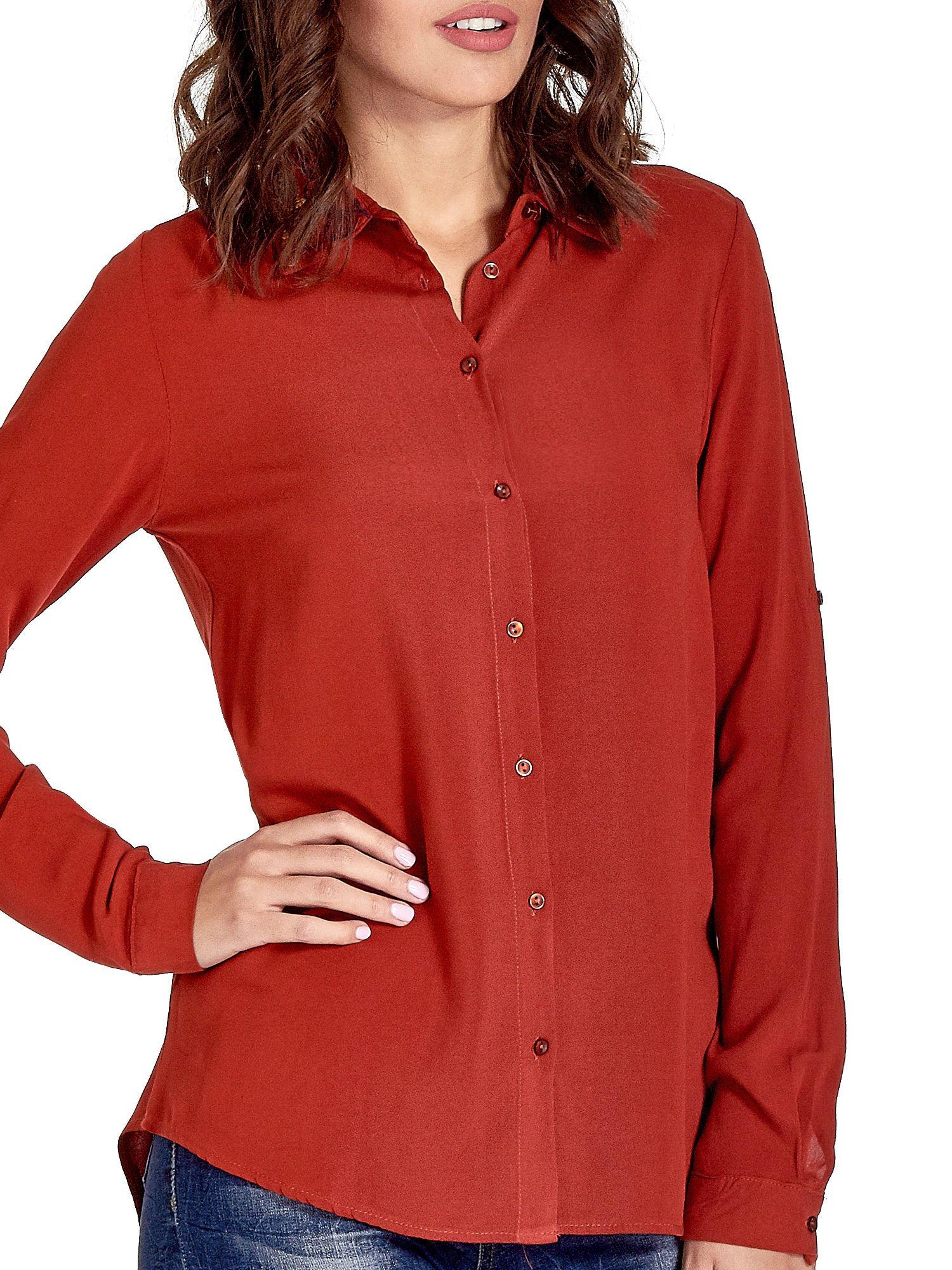 Czerwona koszula z haftowanym kołnierzykiem                                  zdj.                                  6
