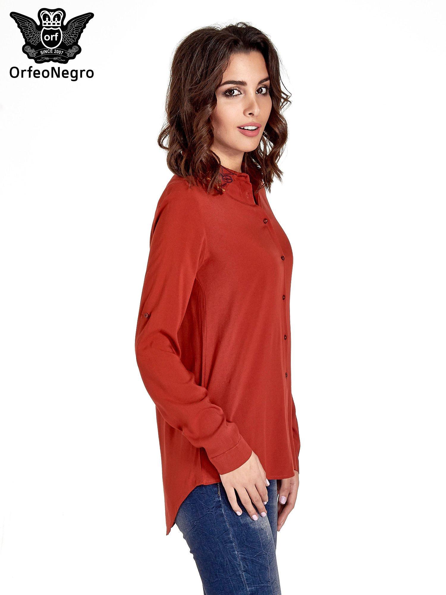 Czerwona koszula z haftowanym kołnierzykiem                                  zdj.                                  3