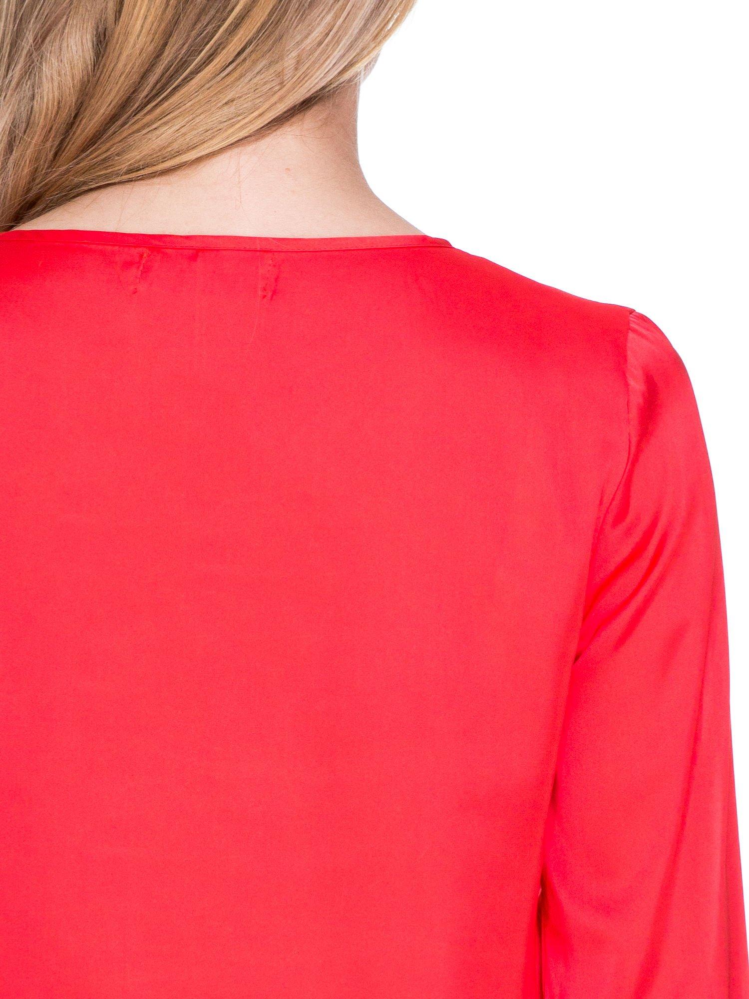 Czerwona koszula z marszczonym dekoltem i rękawami 3/4                                  zdj.                                  7
