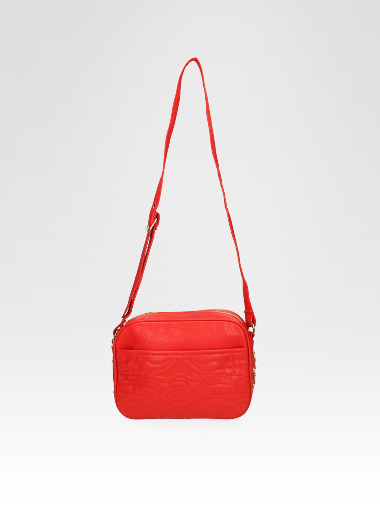 Czerwona mała torebka listonoszka z dżetami                                  zdj.                                  4