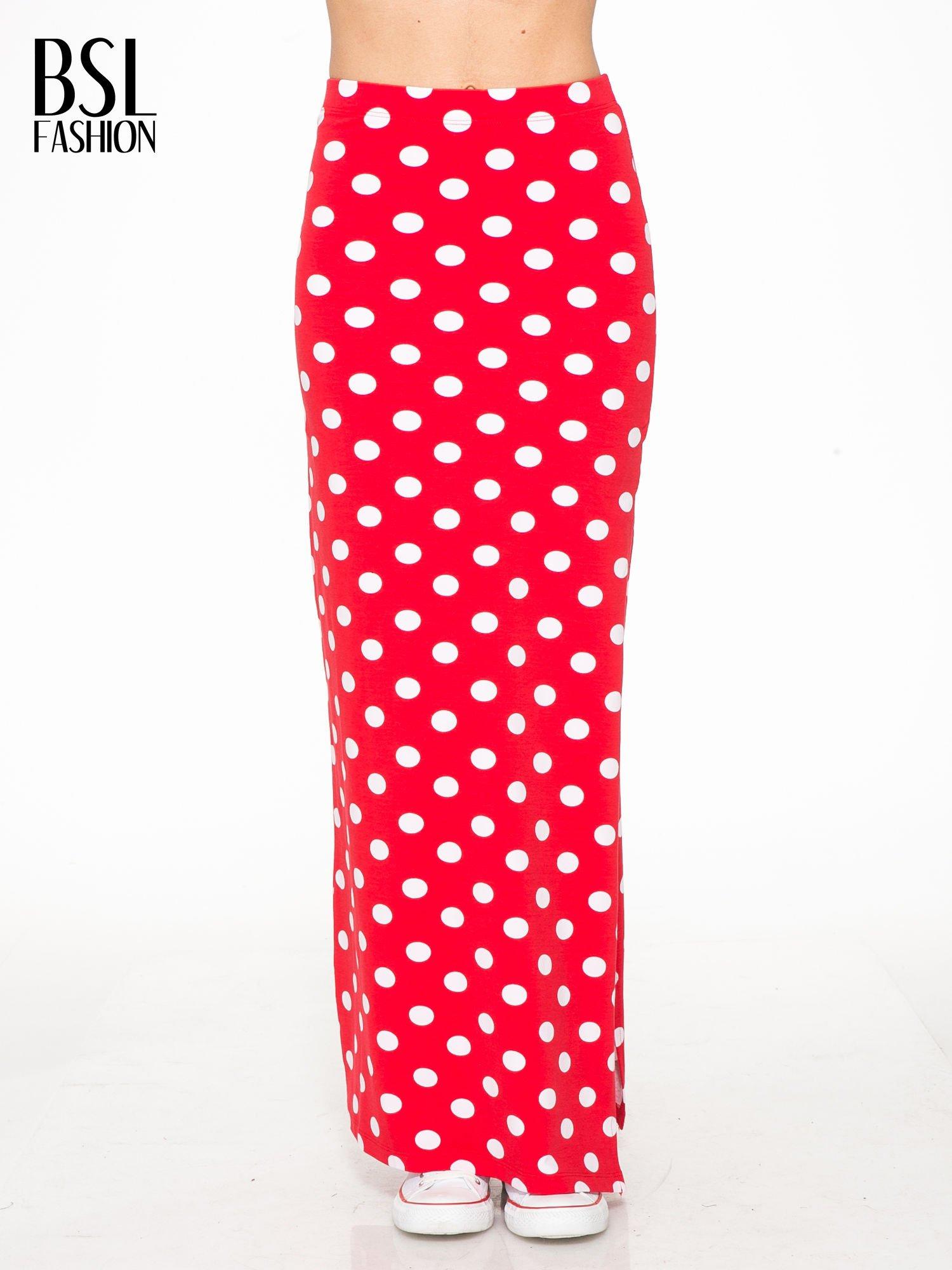 Czerwona spódnica maxi w grochy                                  zdj.                                  1
