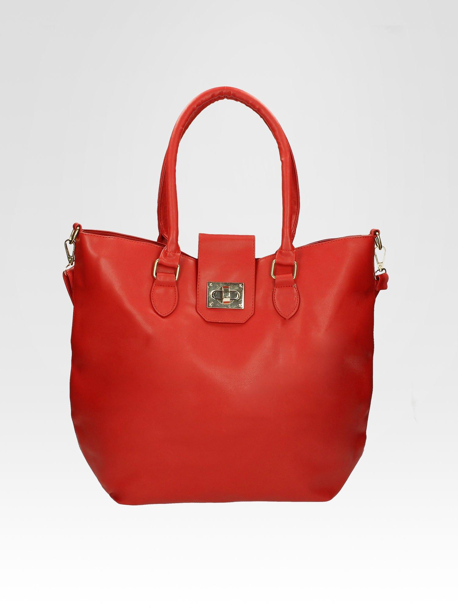 Czerwona torebka city bag z zatrzaskiem                                  zdj.                                  6