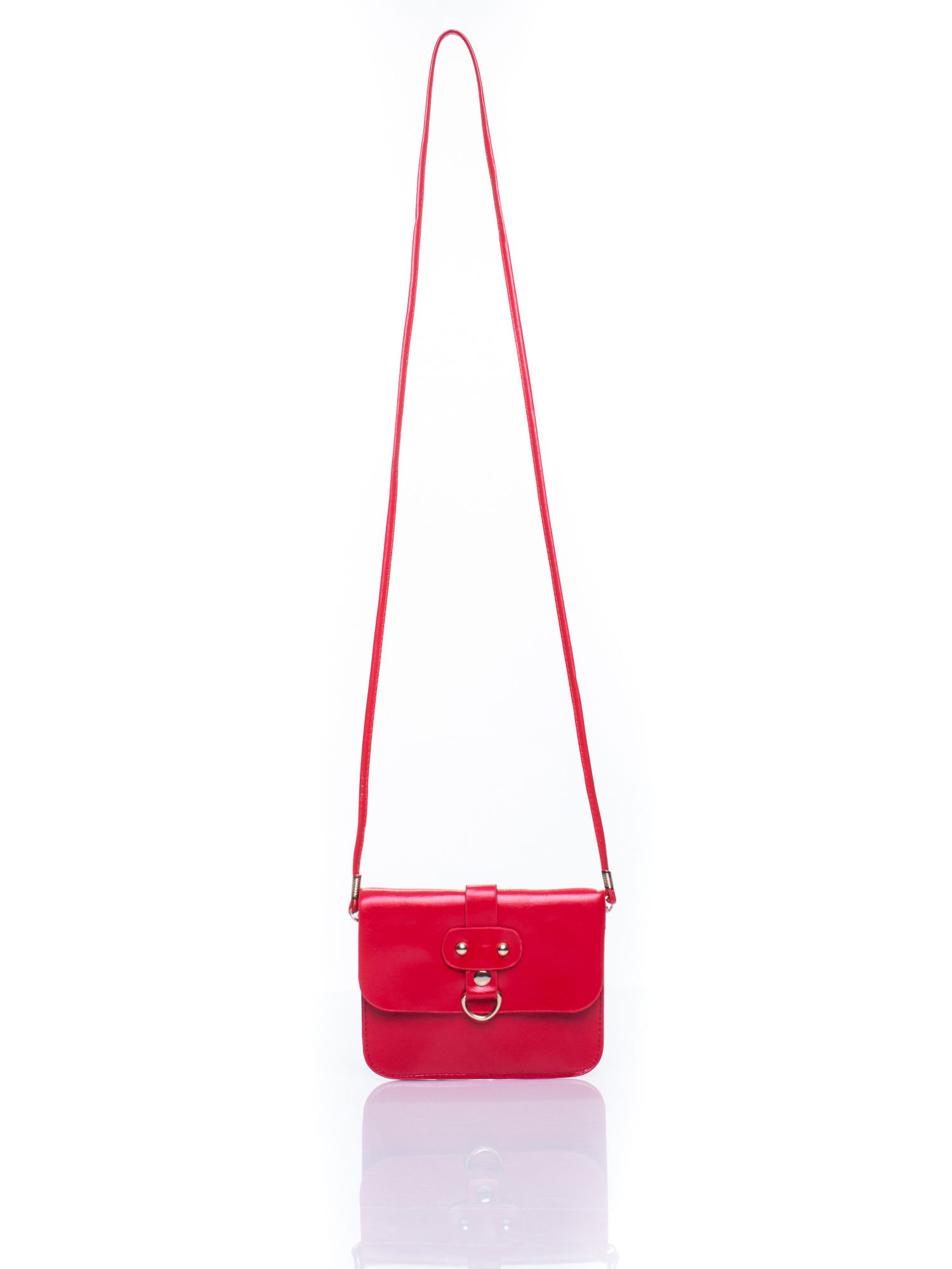 Czerwona torebka listonoszka z klapką                                  zdj.                                  5