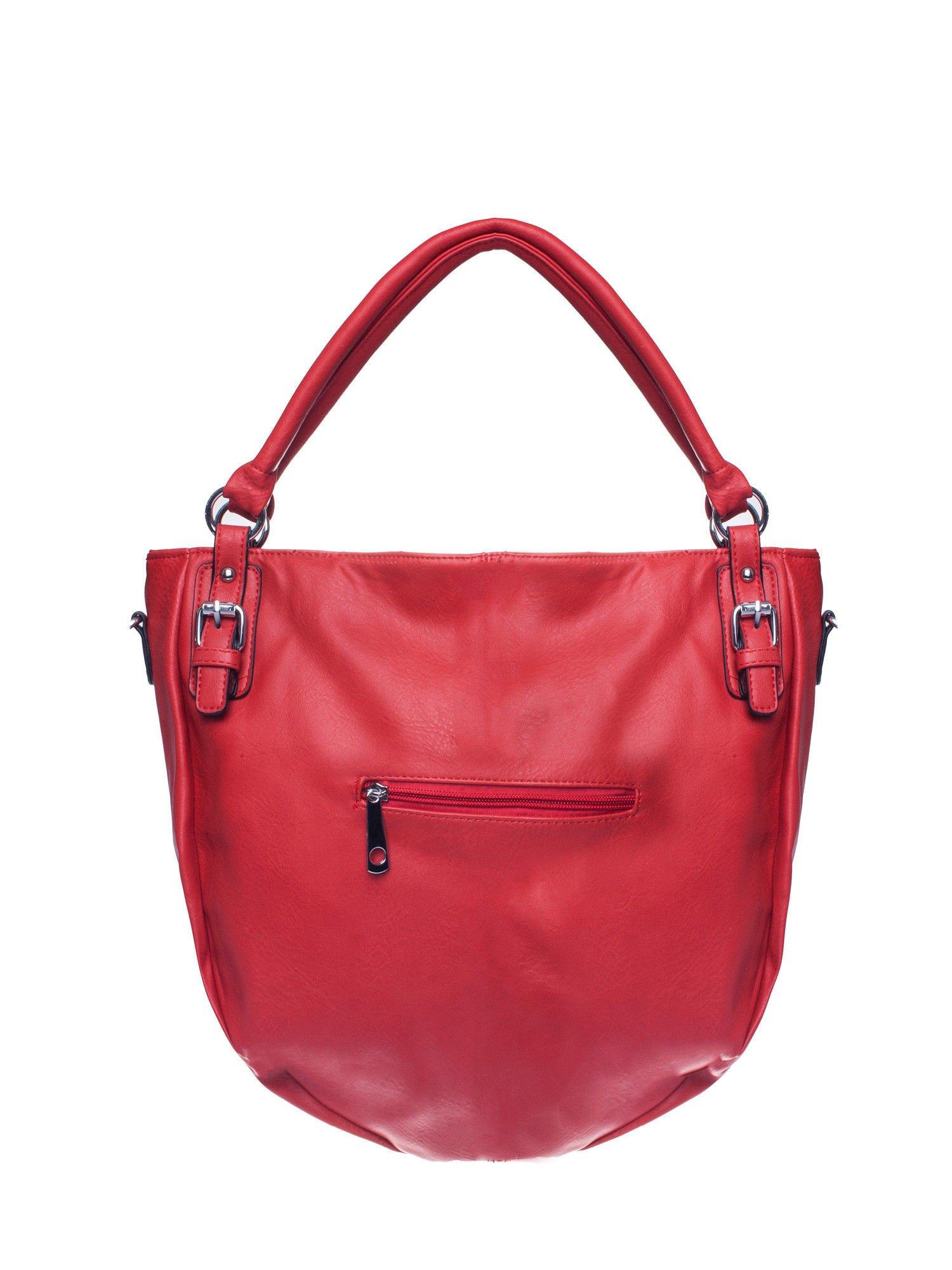 Czerwona torebka miejska z odpinanym paskiem                                  zdj.                                  2