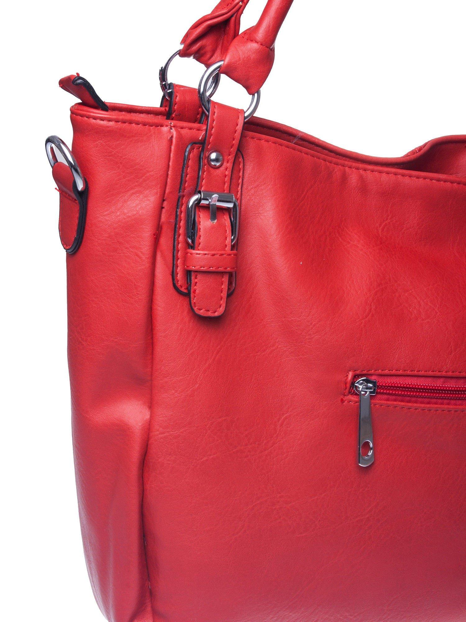 Czerwona torebka miejska z odpinanym paskiem                                  zdj.                                  4