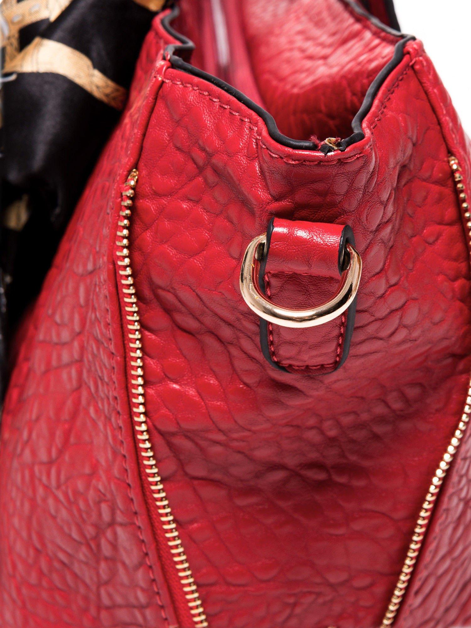 Czerwona torebka shopper bag z apaszką                                  zdj.                                  6