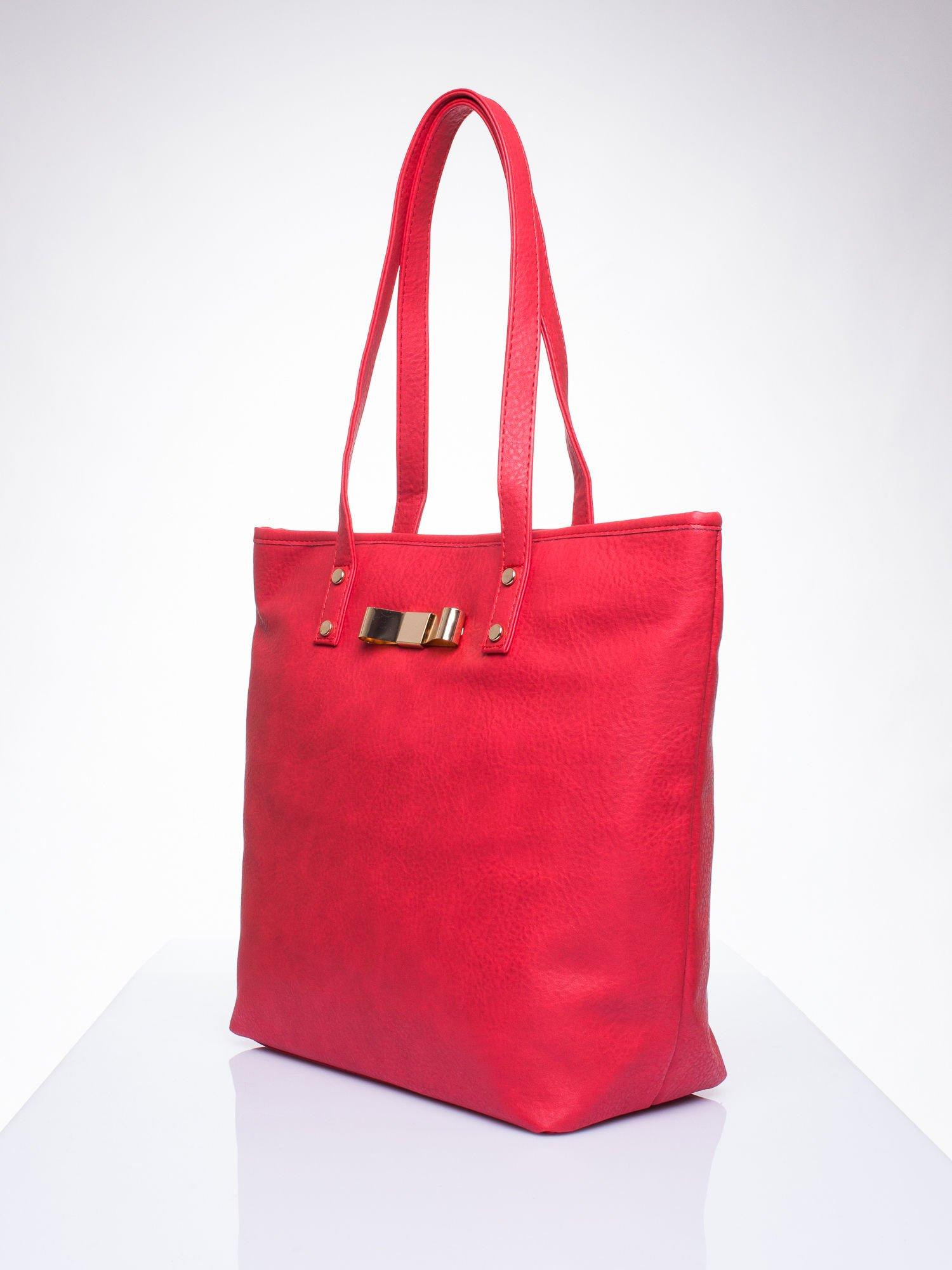 Czerwona torebka shopper bag z kokardką                                  zdj.                                  3
