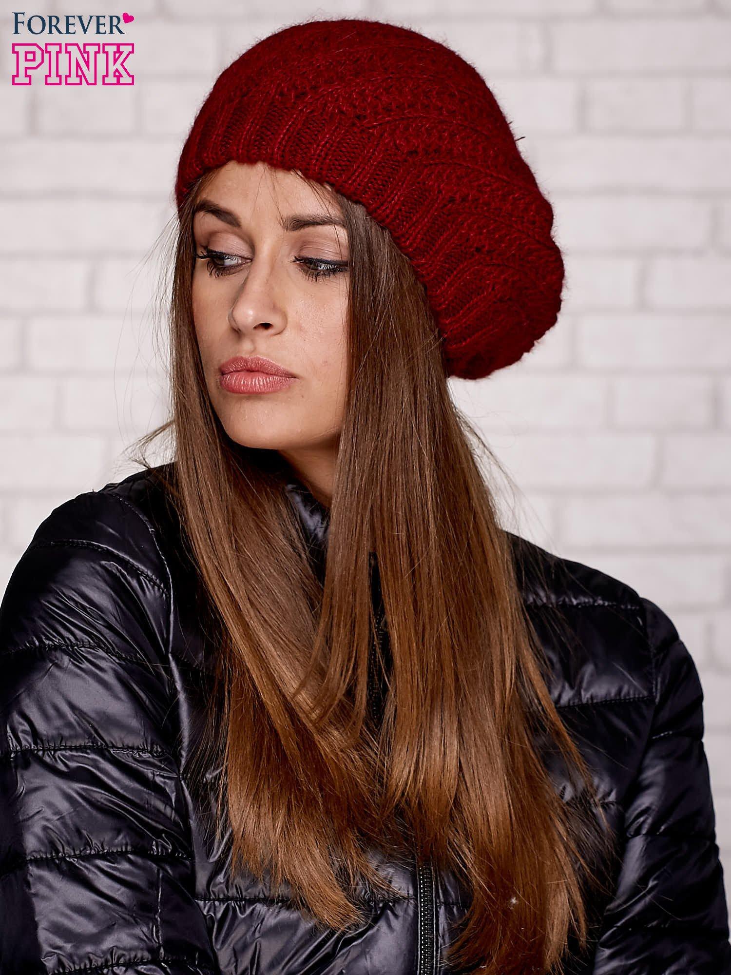 Czerwona wełniana czapka z pomponem                                  zdj.                                  1