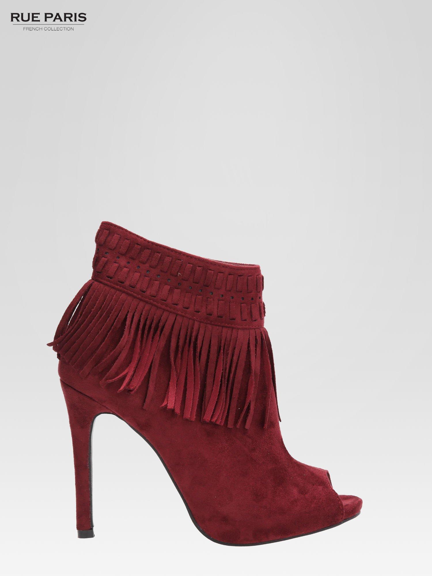 Czerwone botki faux suede Suzie open toe z frędzlami w stylu boho                                  zdj.                                  2