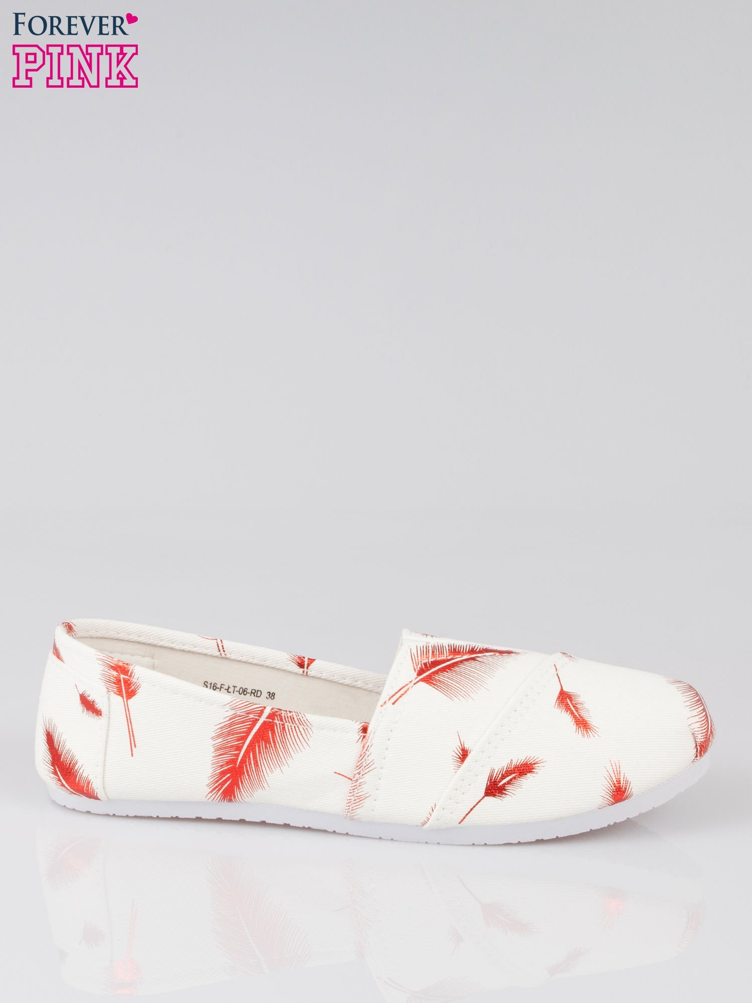 Czerwone buty slipon w piórka                                  zdj.                                  1