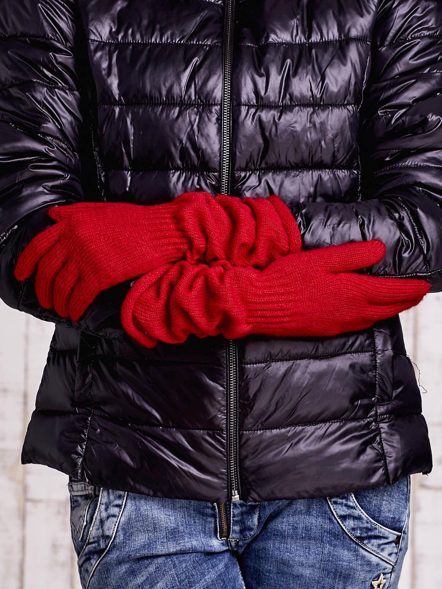 Czerwone długie rękawiczki z marszczonym ściągaczem                                   zdj.                                  2