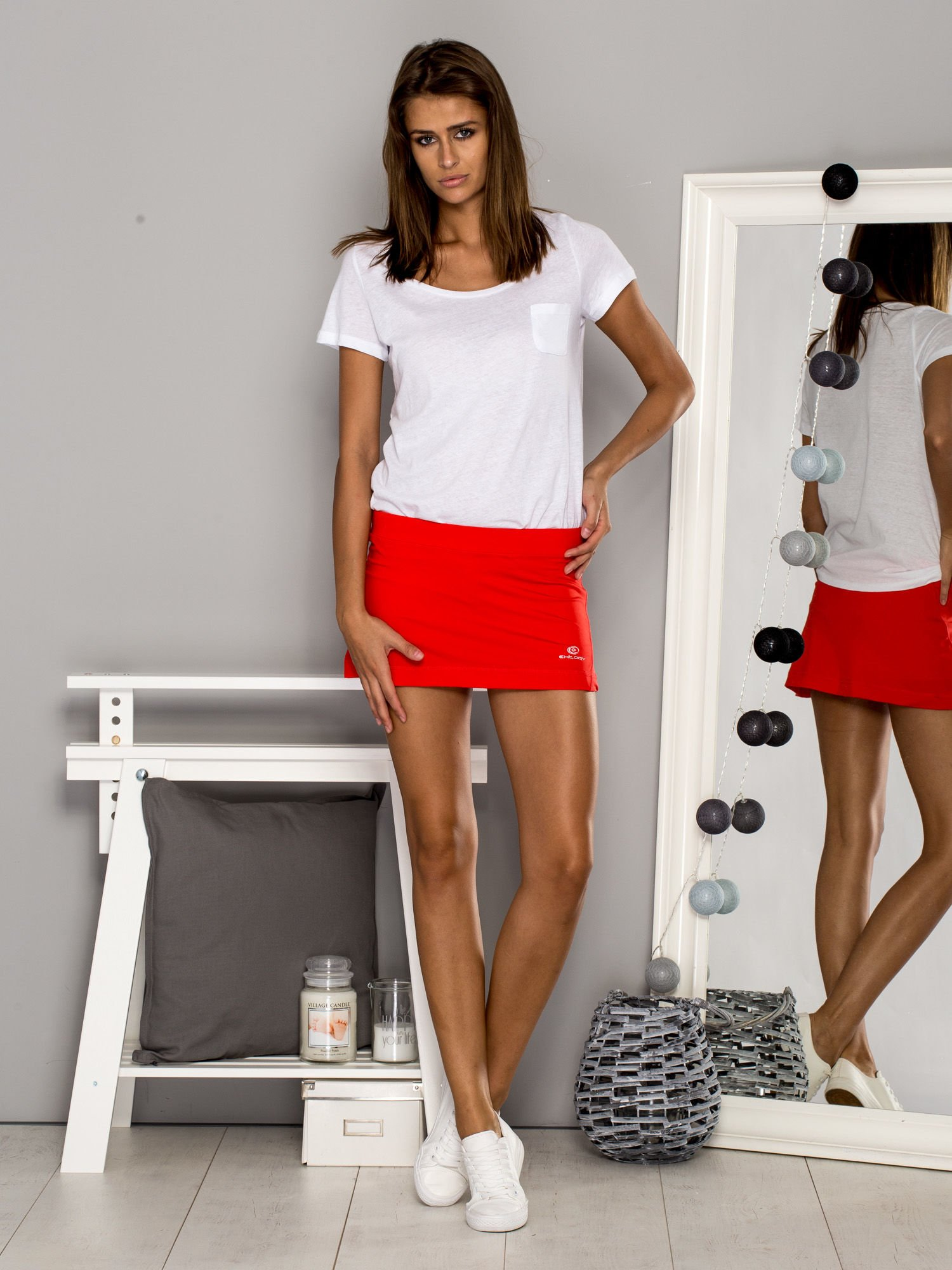 ccaba980 Czerwone gładkie spodenki spódniczka tenisowa