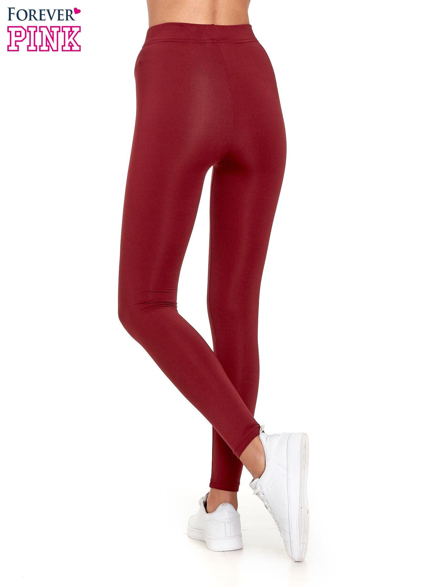 Czerwone legginsy basic z lekkim ociepleniem                                  zdj.                                  4
