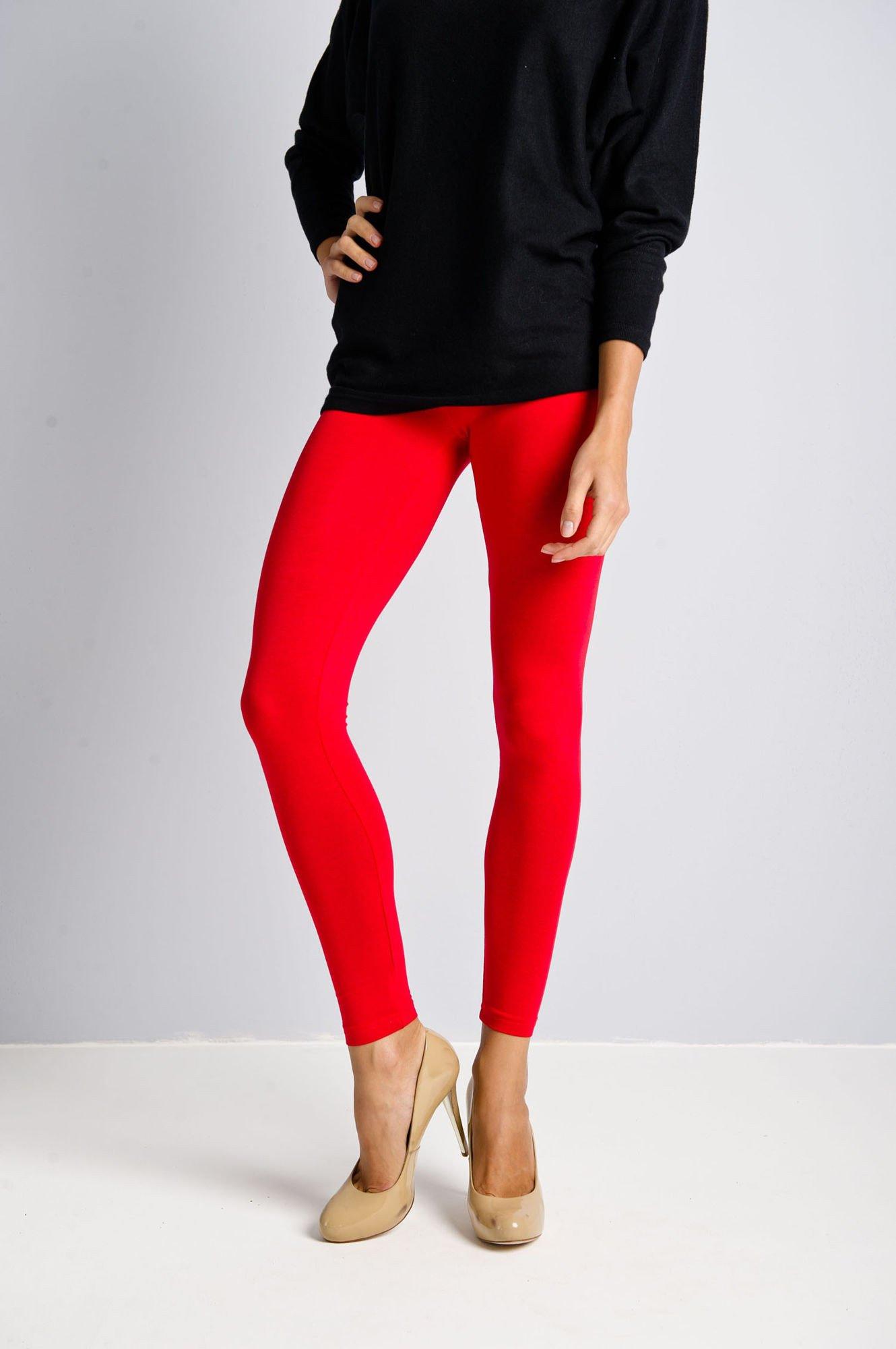 Czerwone legginsy bawełniane z gumką w pasie                                  zdj.                                  2