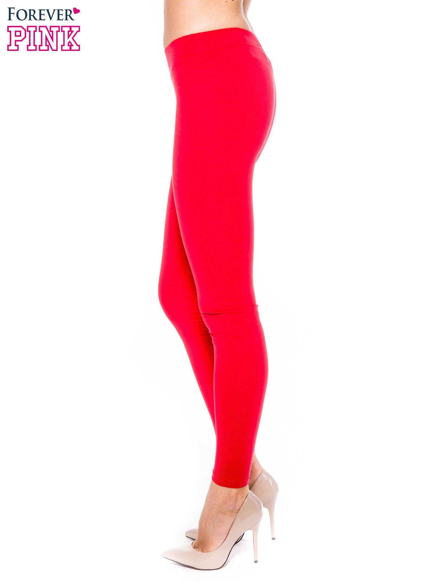 Czerwone legginsy z bawełny                                  zdj.                                  2