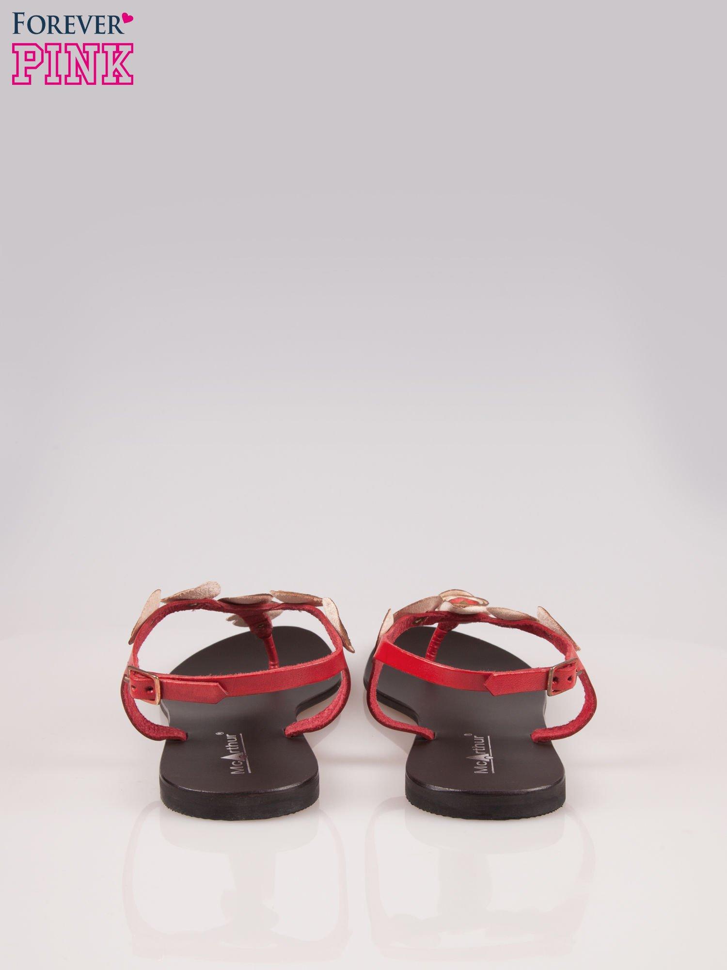 Czerwone skórzane sandały typu japonki w stylu etno                                  zdj.                                  3