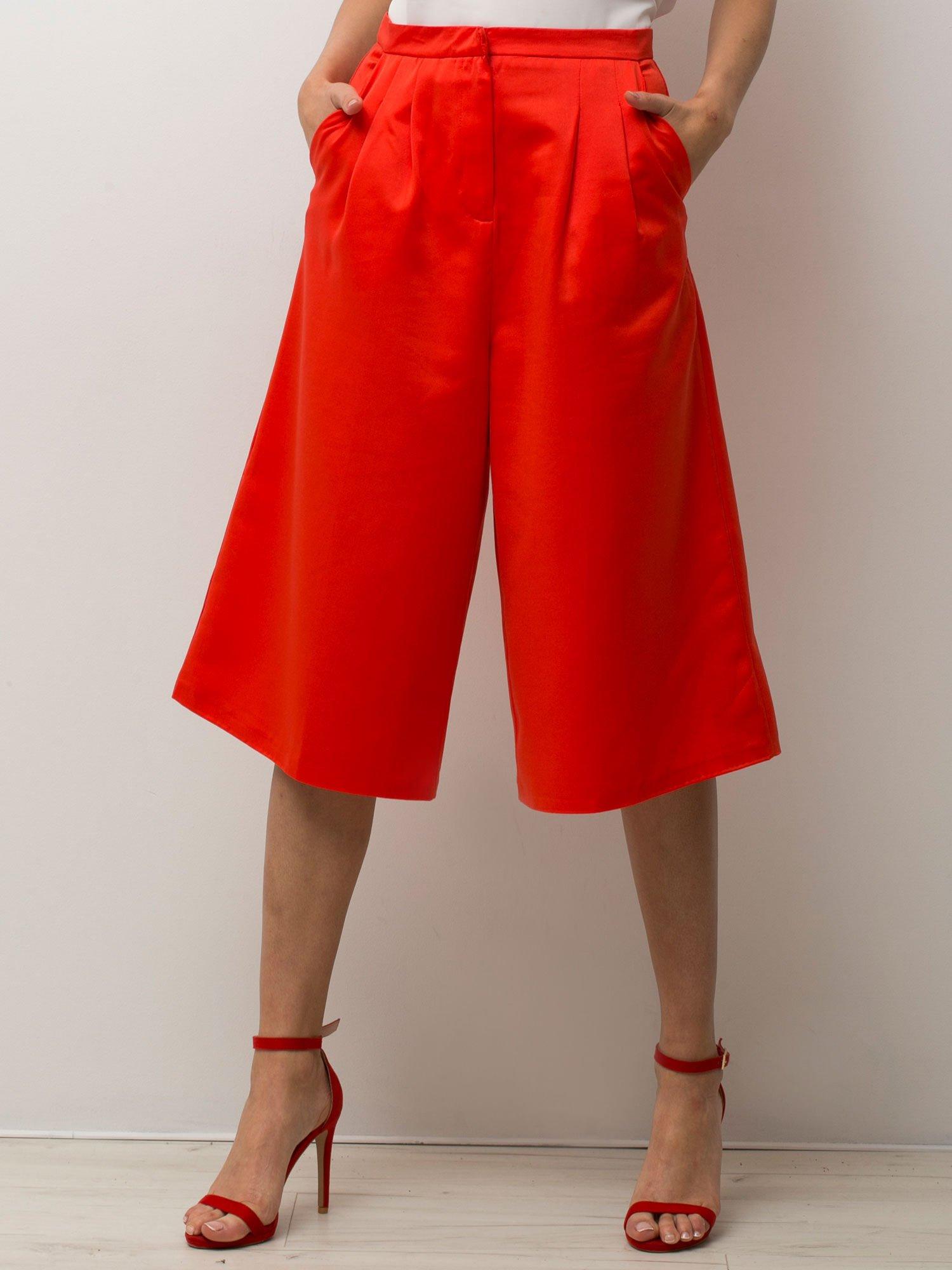 Czerwone spódnicospodnie typu culottes                                  zdj.                                  3