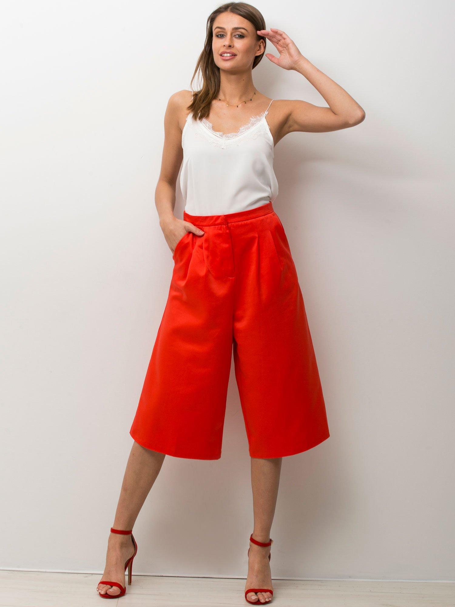 Czerwone spódnicospodnie typu culottes                                  zdj.                                  5