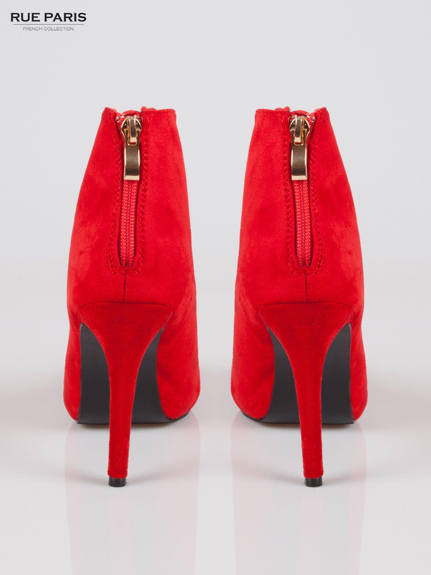 Czerwone sznurowane botki faux suede Kendall lace up open toe z zamkiem                                  zdj.                                  3