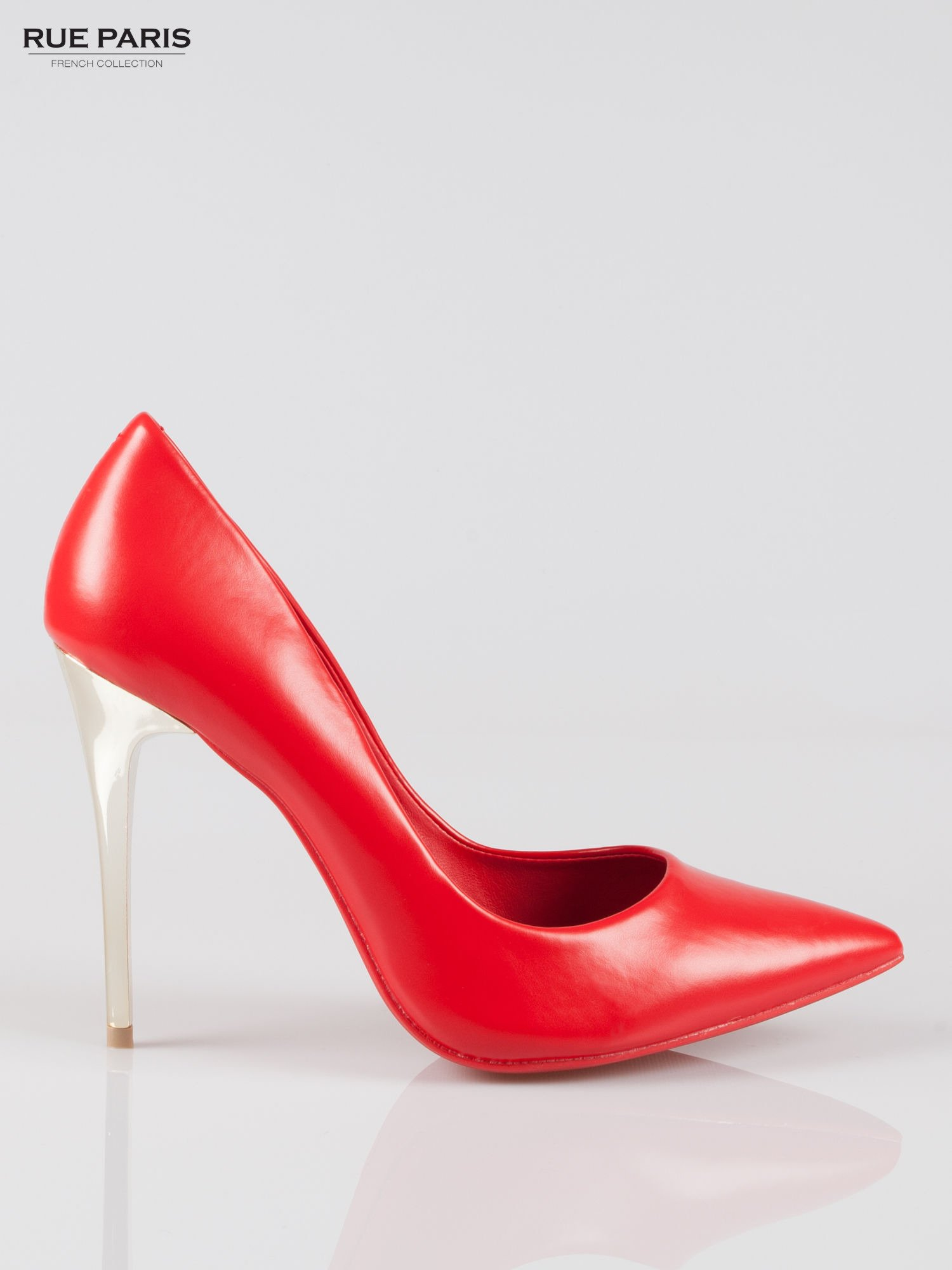 Czerwone szpilki na złotym obcasie Gold Heels                                   zdj.                                  1