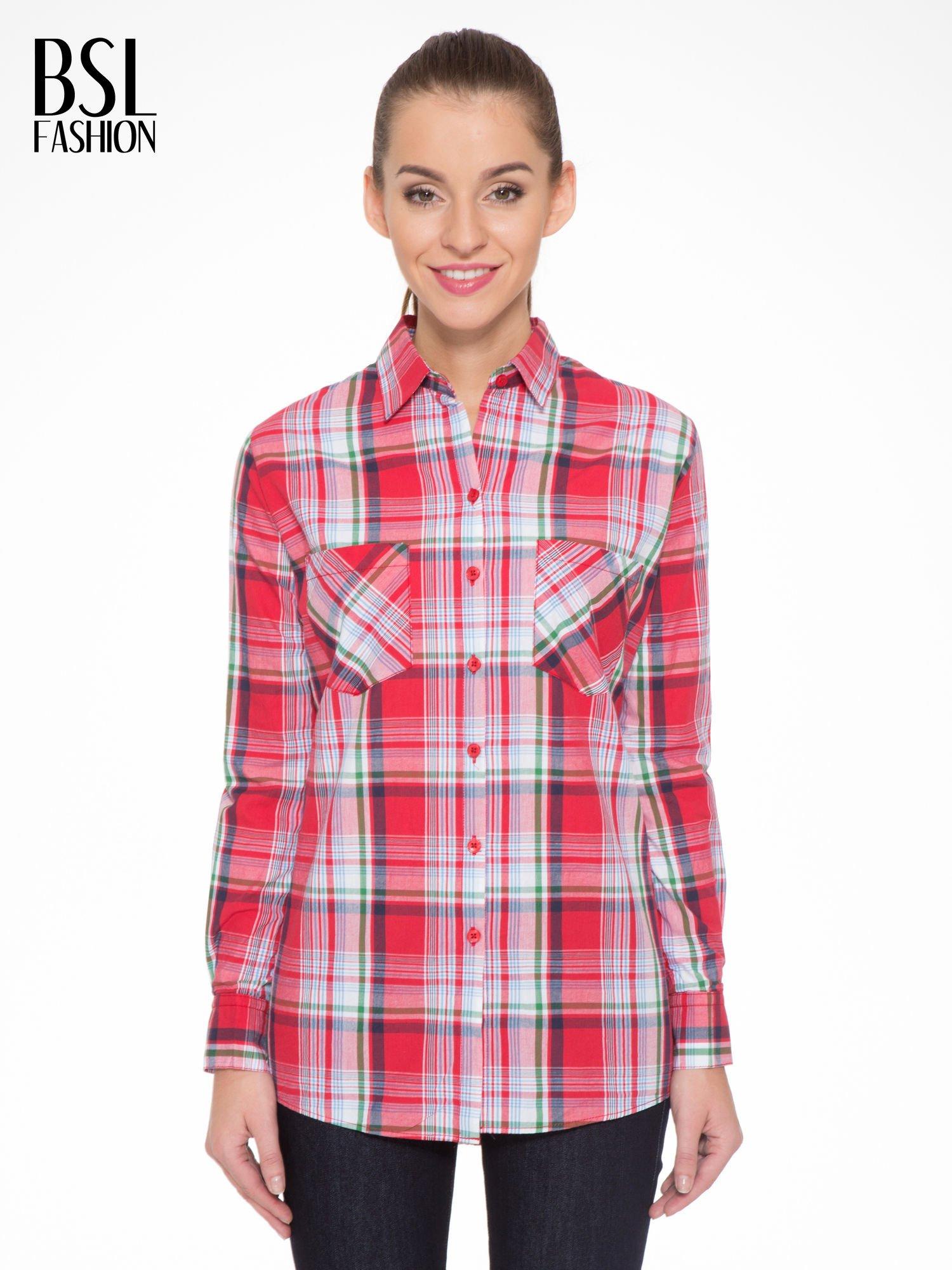 Czerwono-zielona klasyczna koszula w kratę z kieszeniami                                  zdj.                                  1