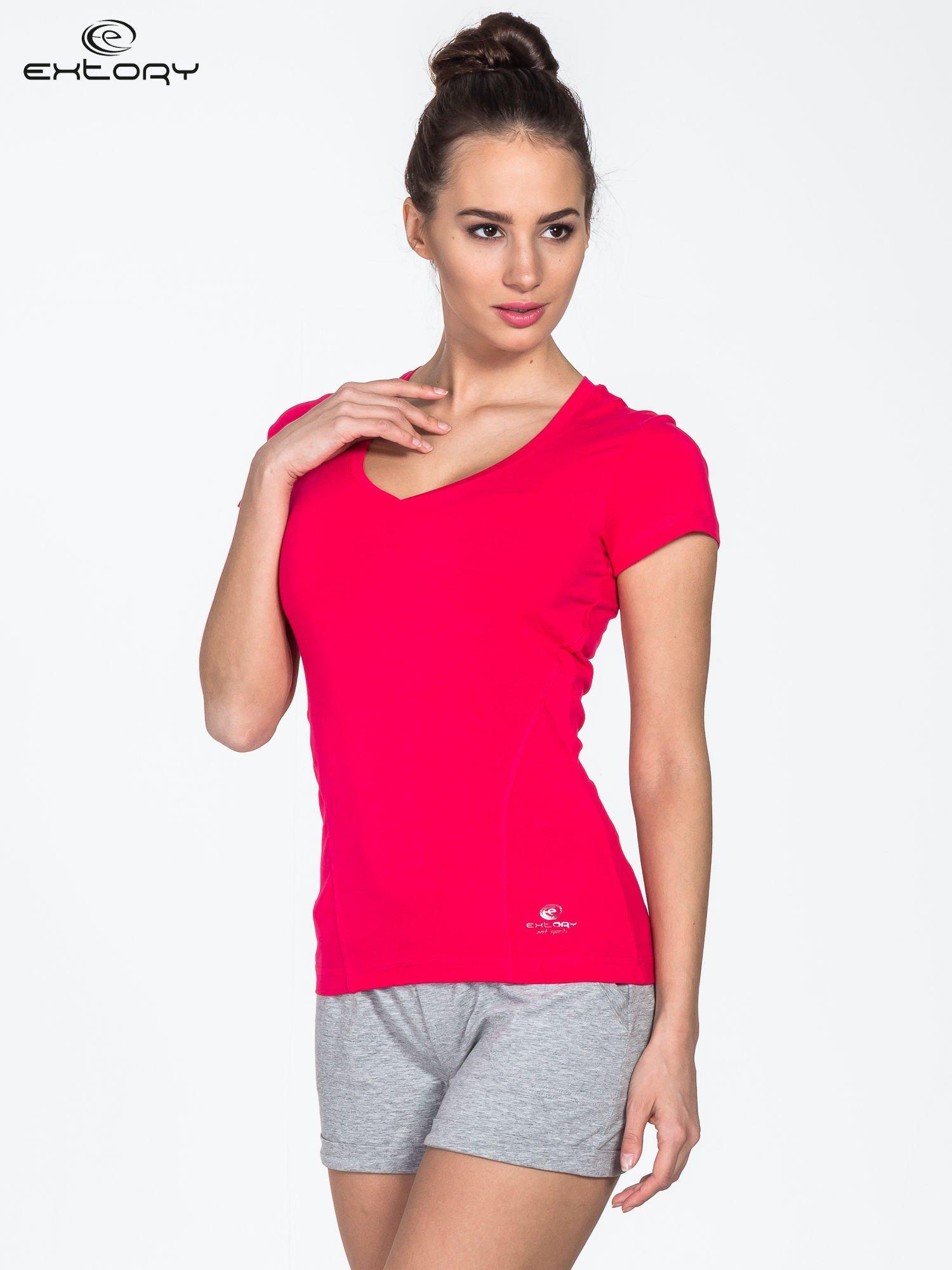 Czerwony damski t-shirt sportowy z modelującymi przeszyciami                                  zdj.                                  3