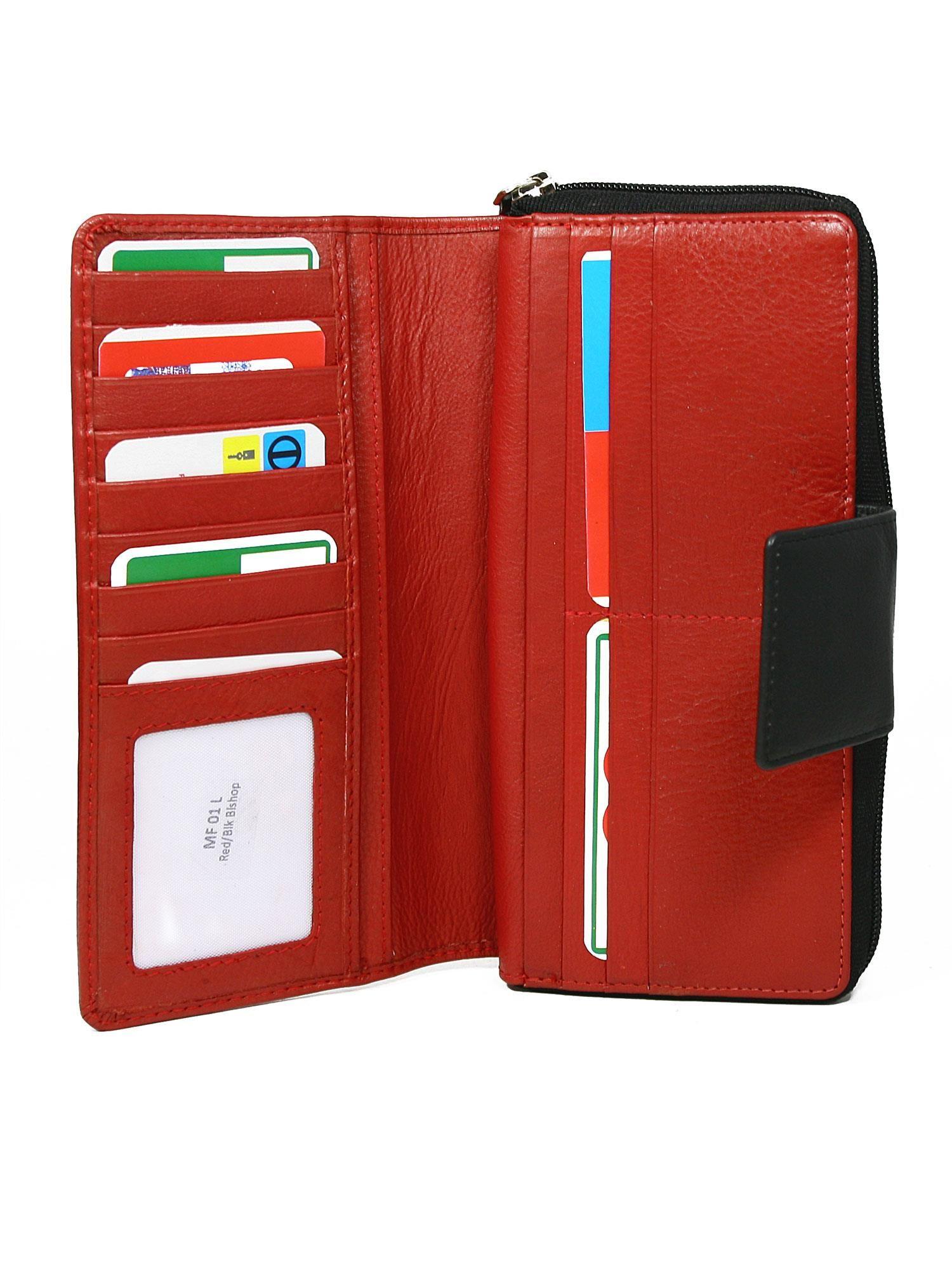 ae3589a15c82c Czerwony duży portfel skórzany z czarnym wykończeniem - Akcesoria ...