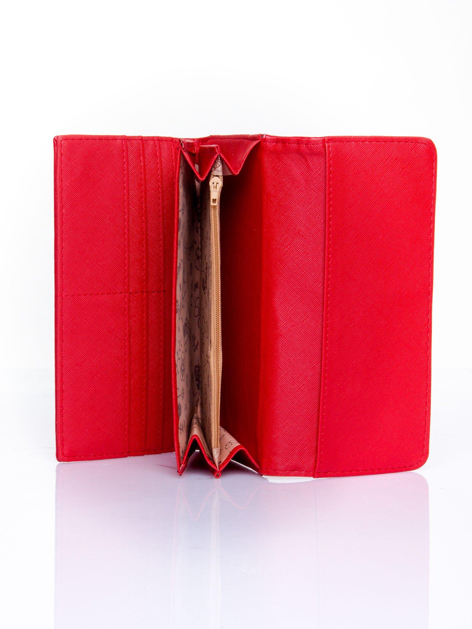 Czerwony portfel z motywem skóry aligatora                                   zdj.                                  5