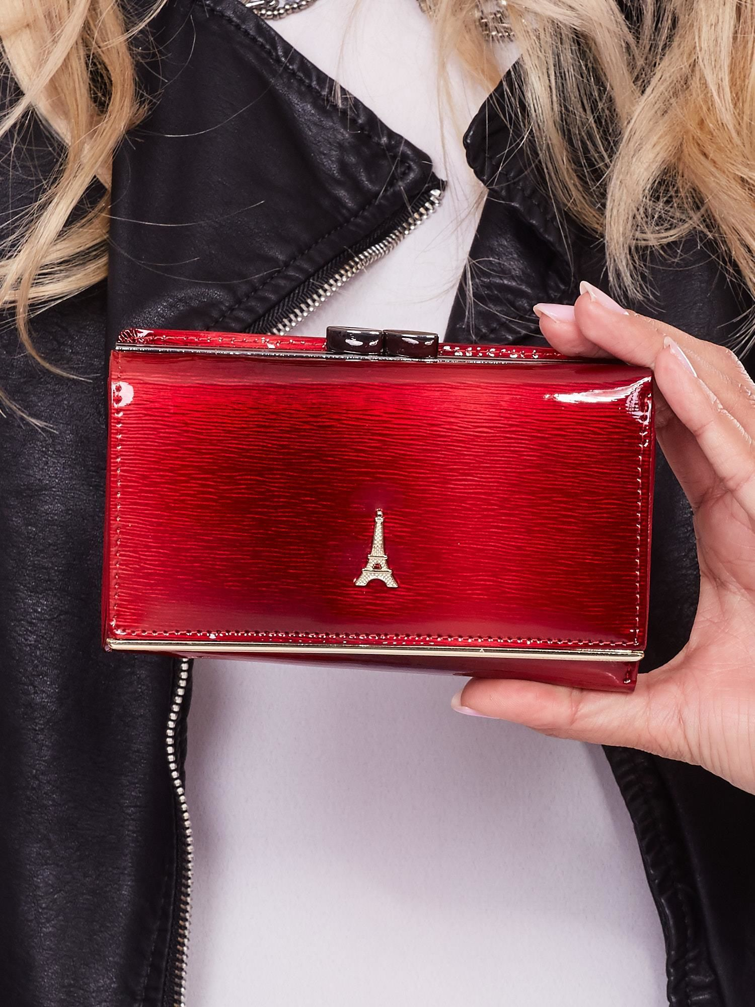 14447e67cfd12 Czerwony skórzany portfel damski lakierowany - Akcesoria portfele - sklep  eButik.pl