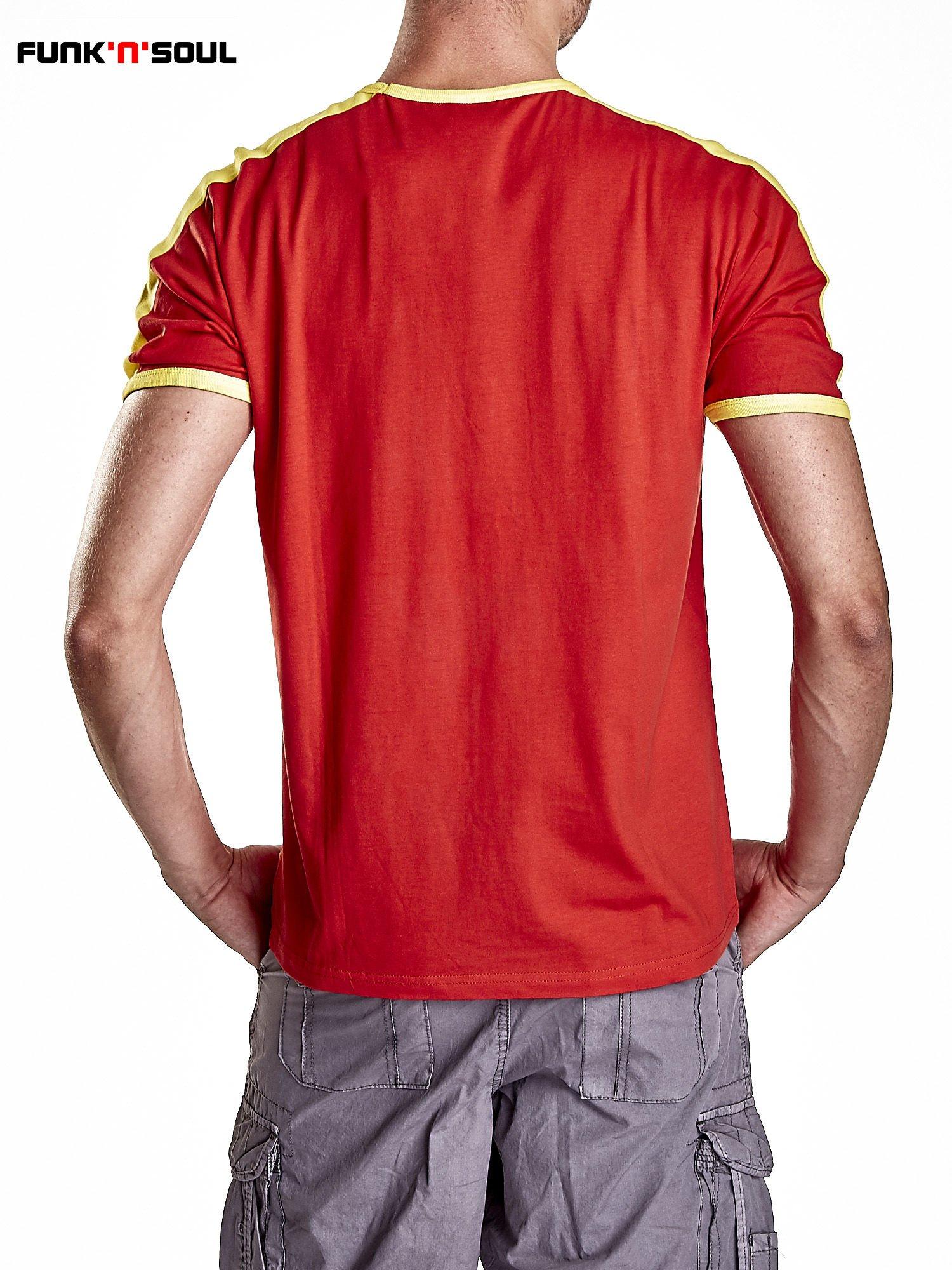 Czerwony t-shirt męski z napisem ESPANA Funk n Soul                                  zdj.                                  2