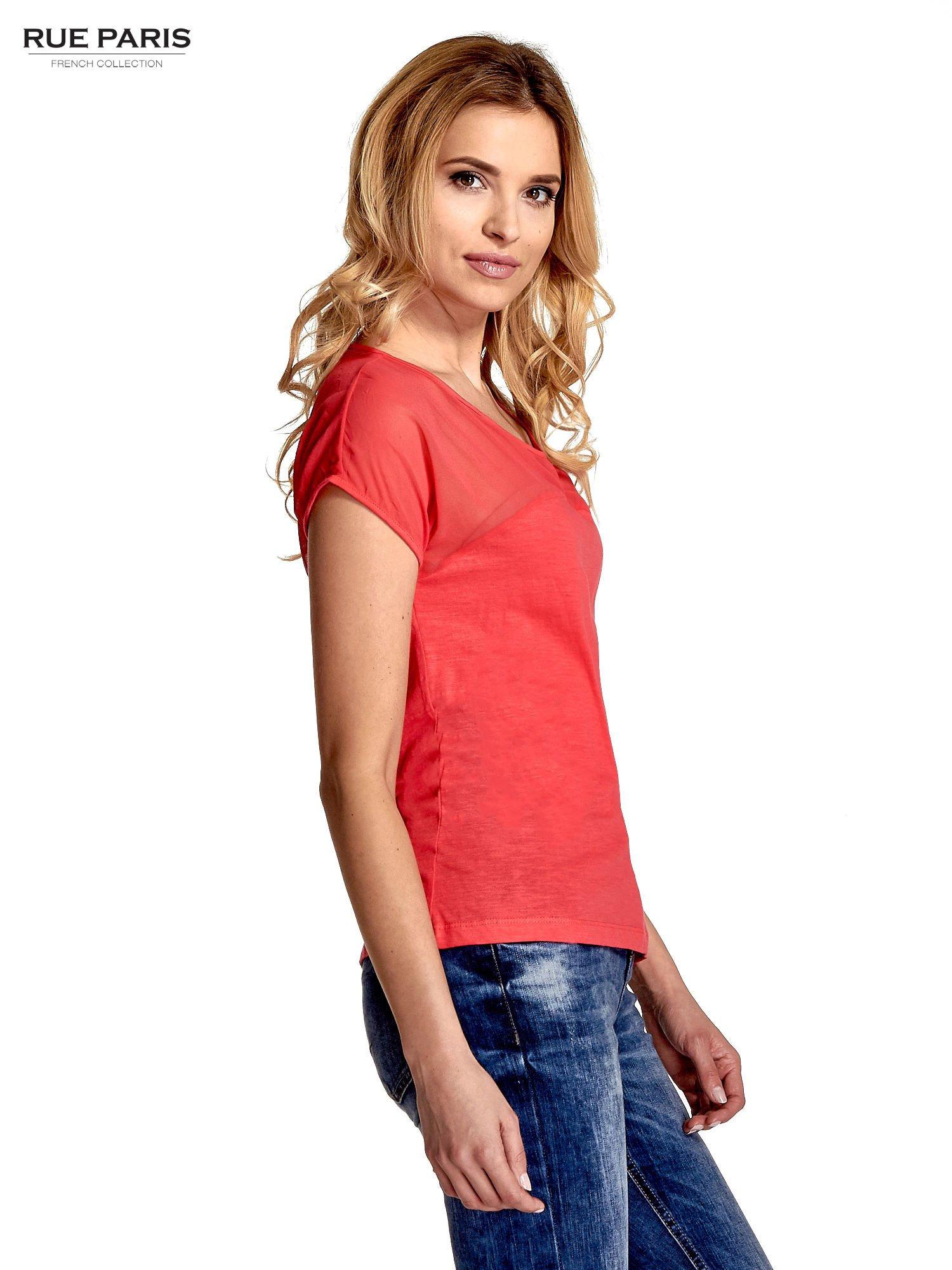 Czerwony t-shirt z górą mgiełką                                  zdj.                                  3