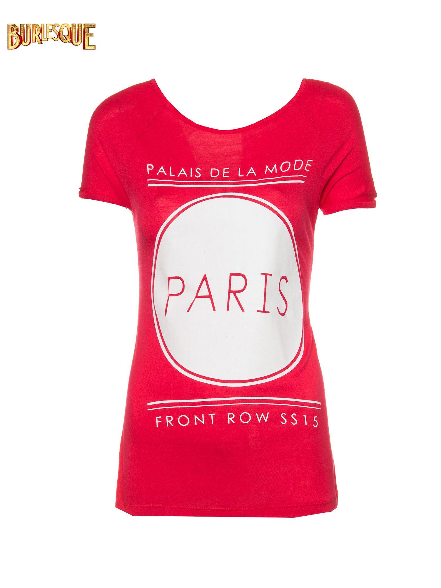 Czerwony t-shirt z nadrukiem PARIS                                  zdj.                                  1
