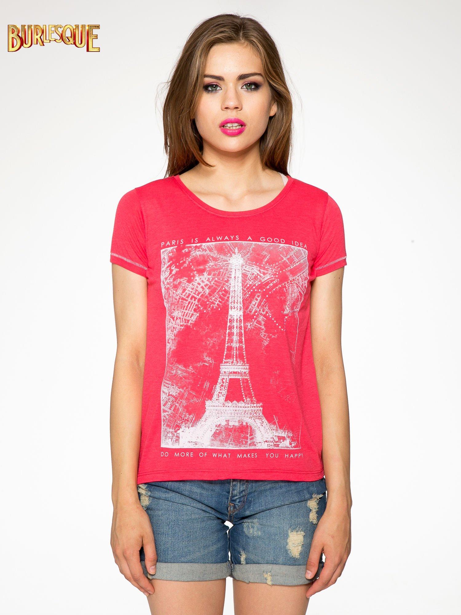 Czerwony t-shirt z nadrukiem wieży Eiffla                                  zdj.                                  10