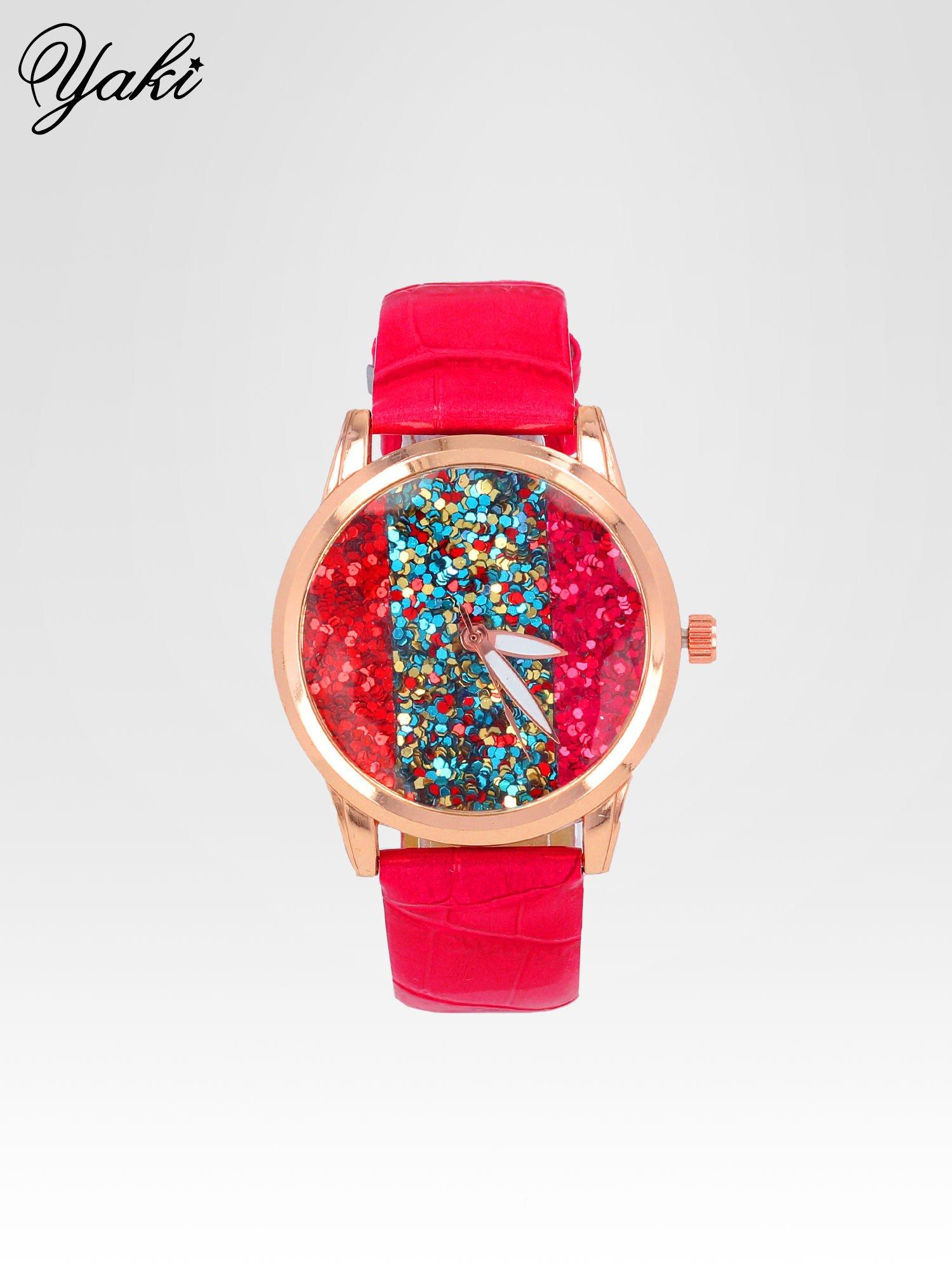 Czerwony zegarek damski na pasku z tarczą glitter                                  zdj.                                  1