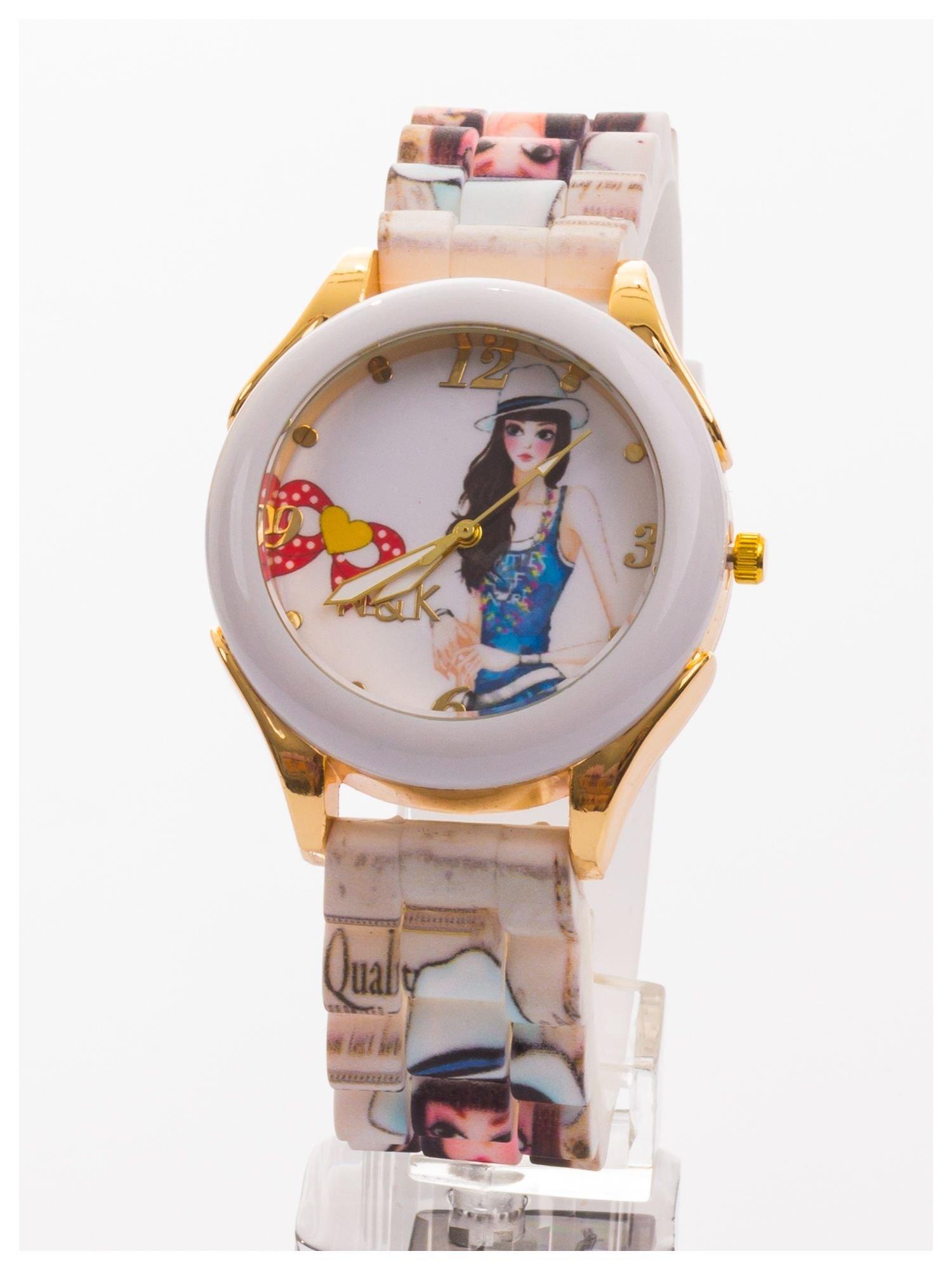 Damski zegarek. Kolorowy rysunkowy motyw na tarczy oraz silikonowym pasku.                                  zdj.                                  1
