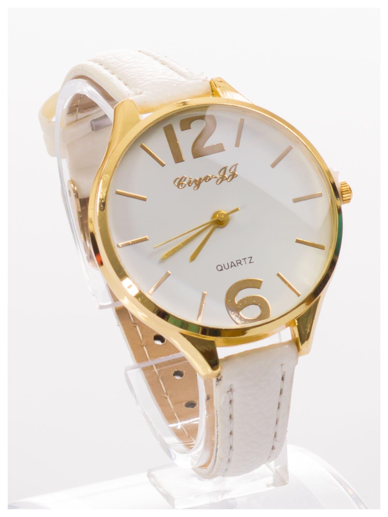 Damski zegarek fashion na białym wąskim skórzanym pasku                                  zdj.                                  3