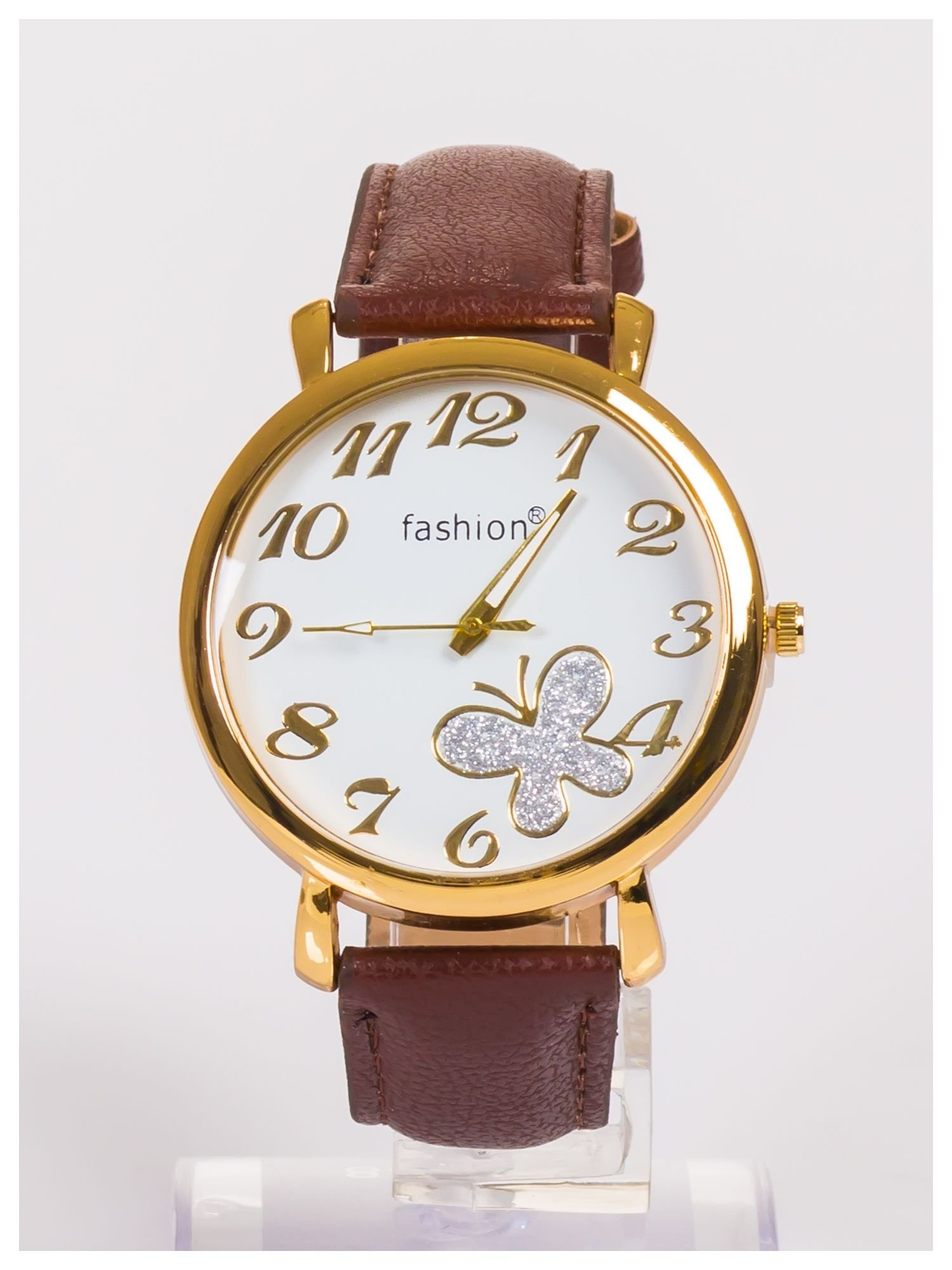 Damski zegarek z błyszczącym motylkiem na dużej i wyraźnej tarczy                                   zdj.                                  1
