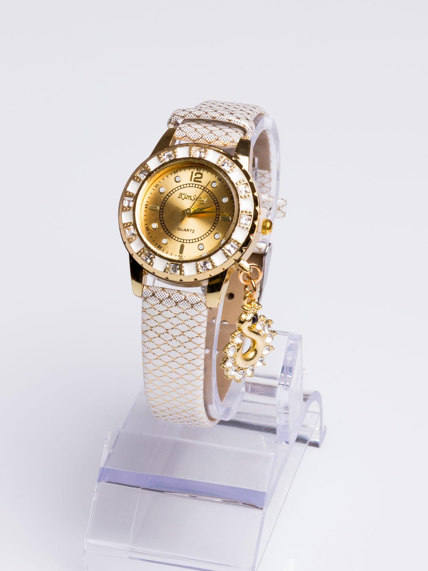 Delikatny damski zegarek z wisiorkiem celebrytką z cyrkoniami                                  zdj.                                  1