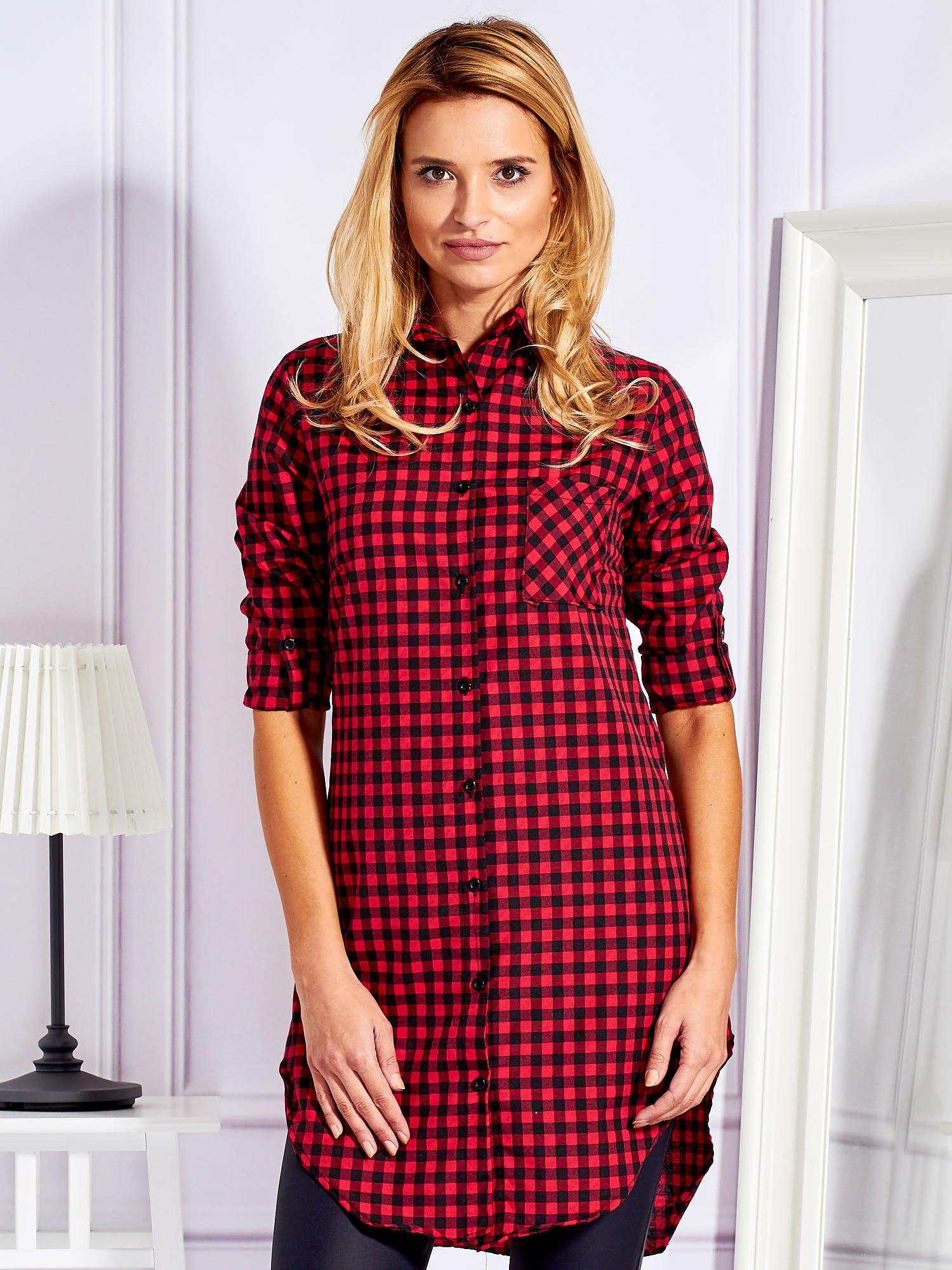 Długa Kratkę Koszula pl Bluzka Sklep Ebutik Czerwona W Tunika tSSqr7
