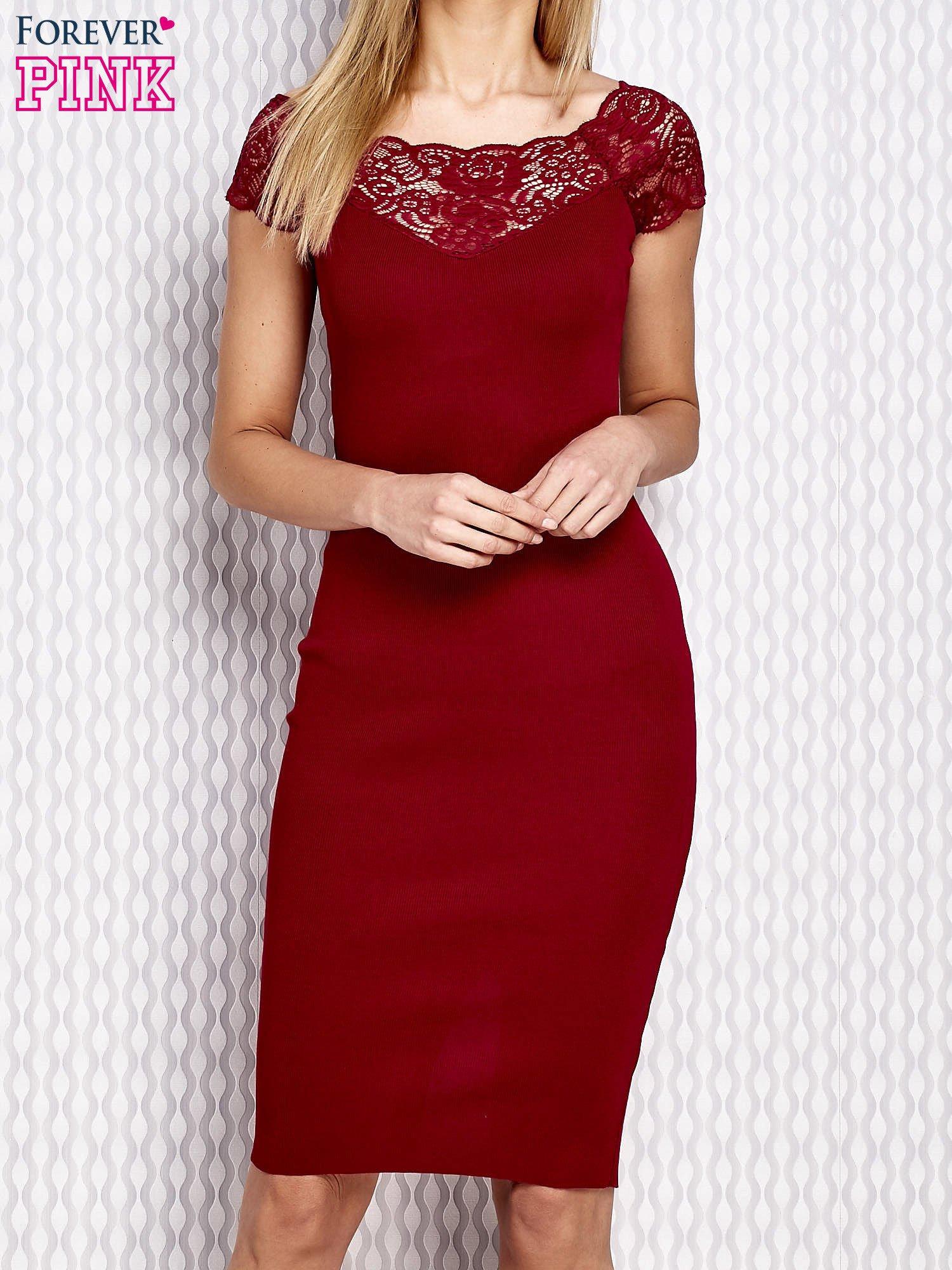 a5bc3e2d97 Dopasowana sukienka z koronkową wstawką bordowa - Sukienka ...